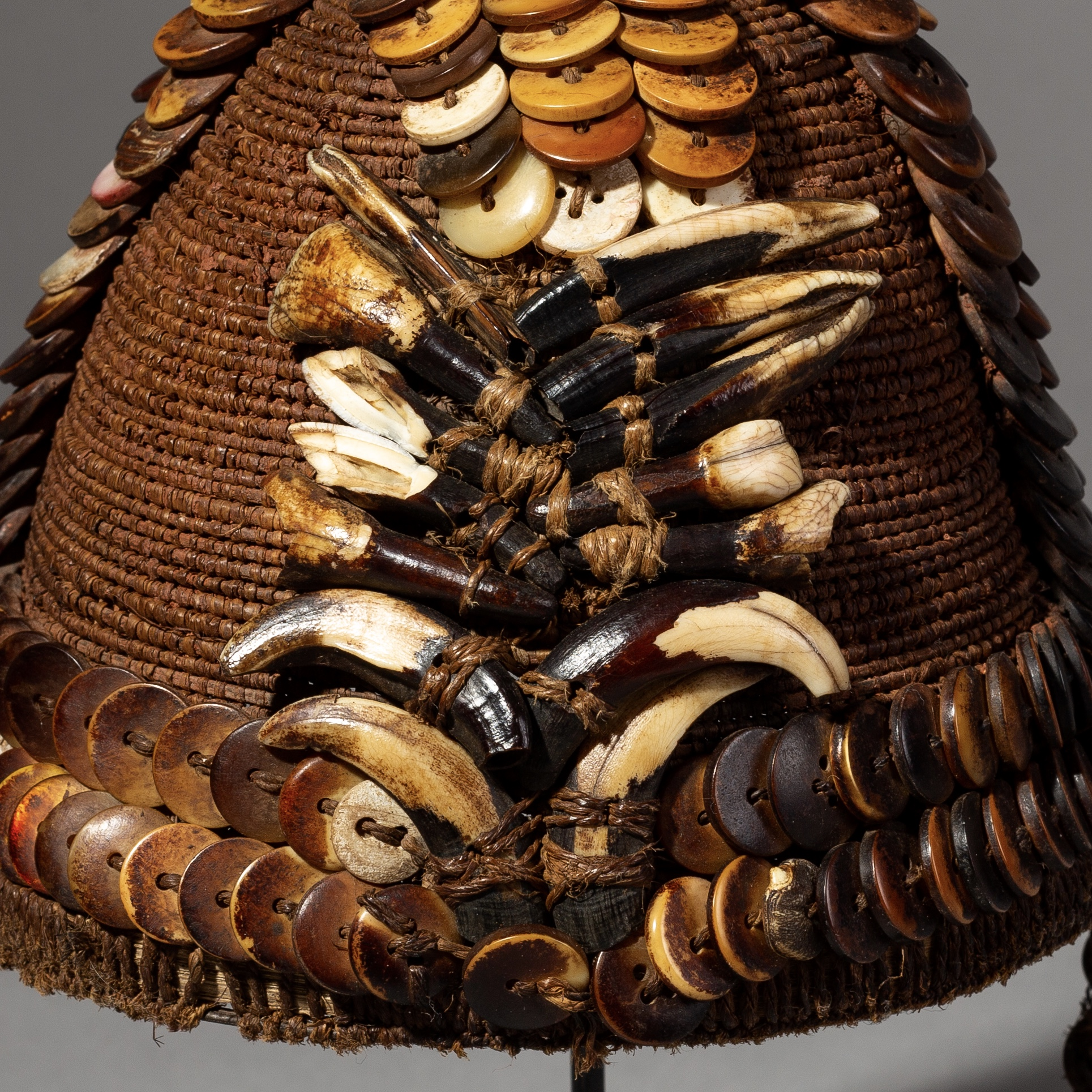 A MULTI TALISMAN HAT FROM THE LEGA TRIBE OF CONGO ( No 2134 )