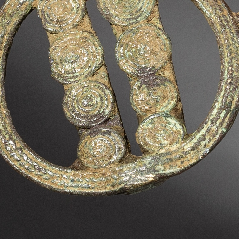 AT LEAST 18THC VERT DE GRIS AKAN GOLD WEIGHT WITH INTRICATE DESIGN ( No 2226 )