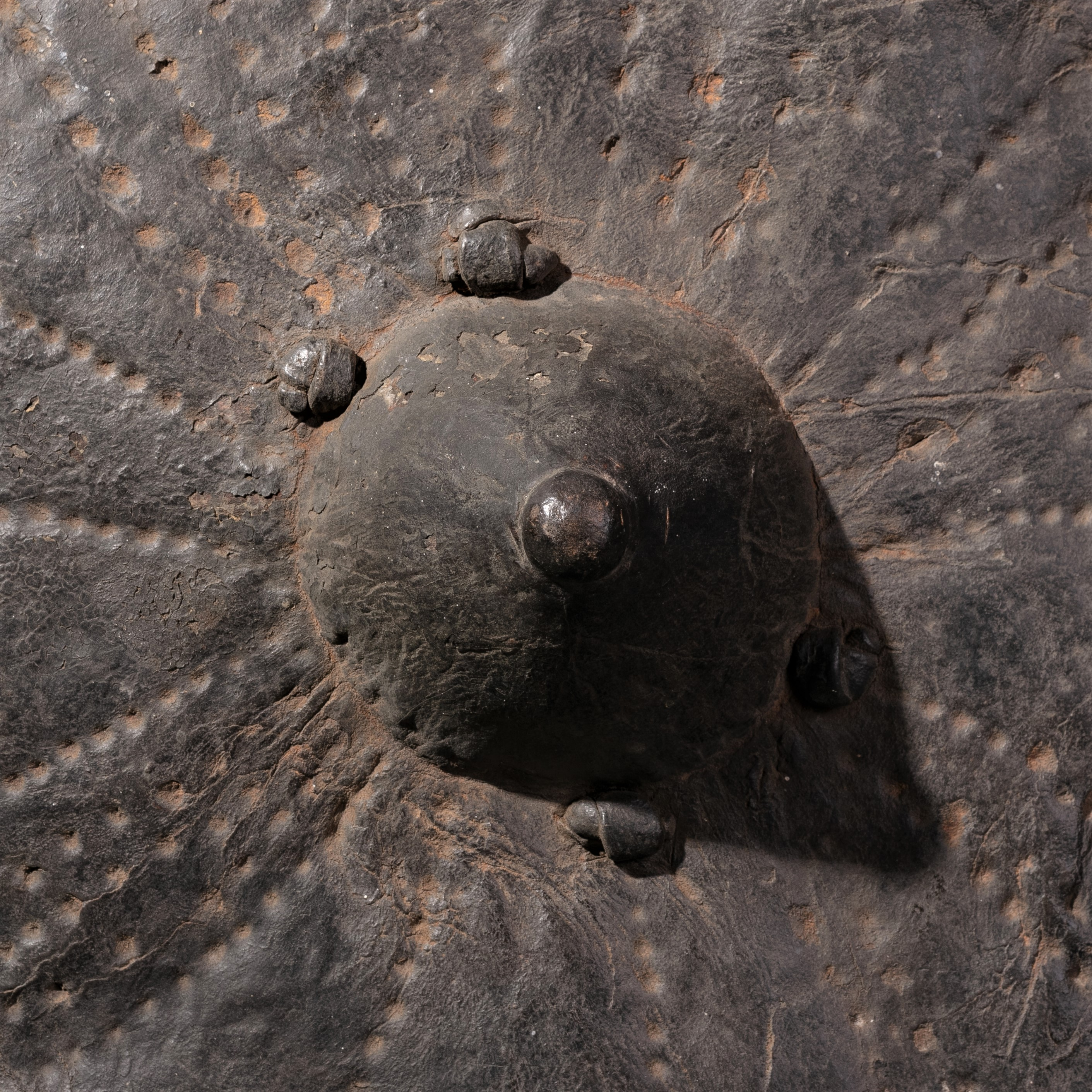 AN EMBOSSED LEATHER SHIELD FROM SUDAN ( No 893 )