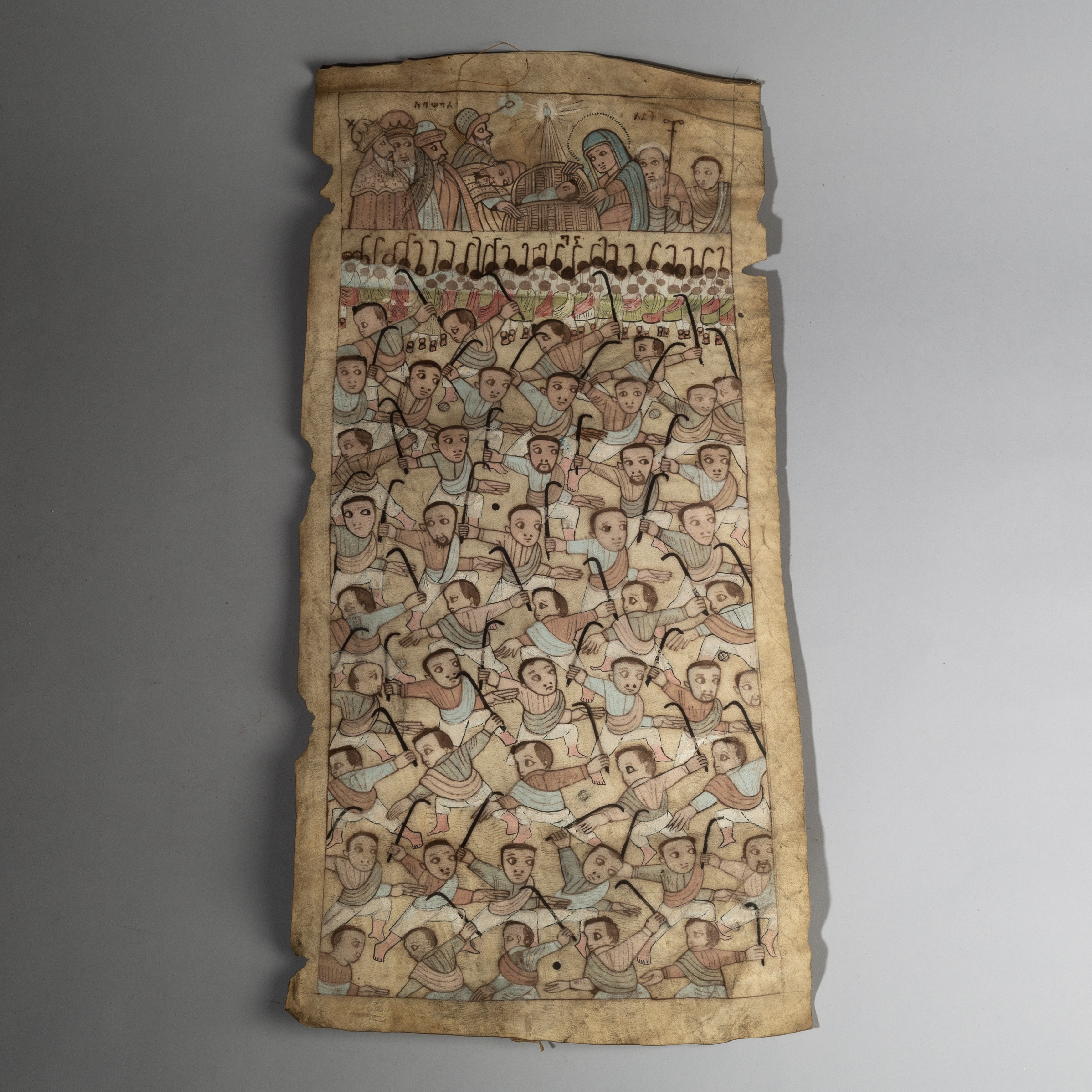 AN ETHIOPIAN PAINTING ON VELLUM DEPICTING JESUS + MARY ( No 2887 )