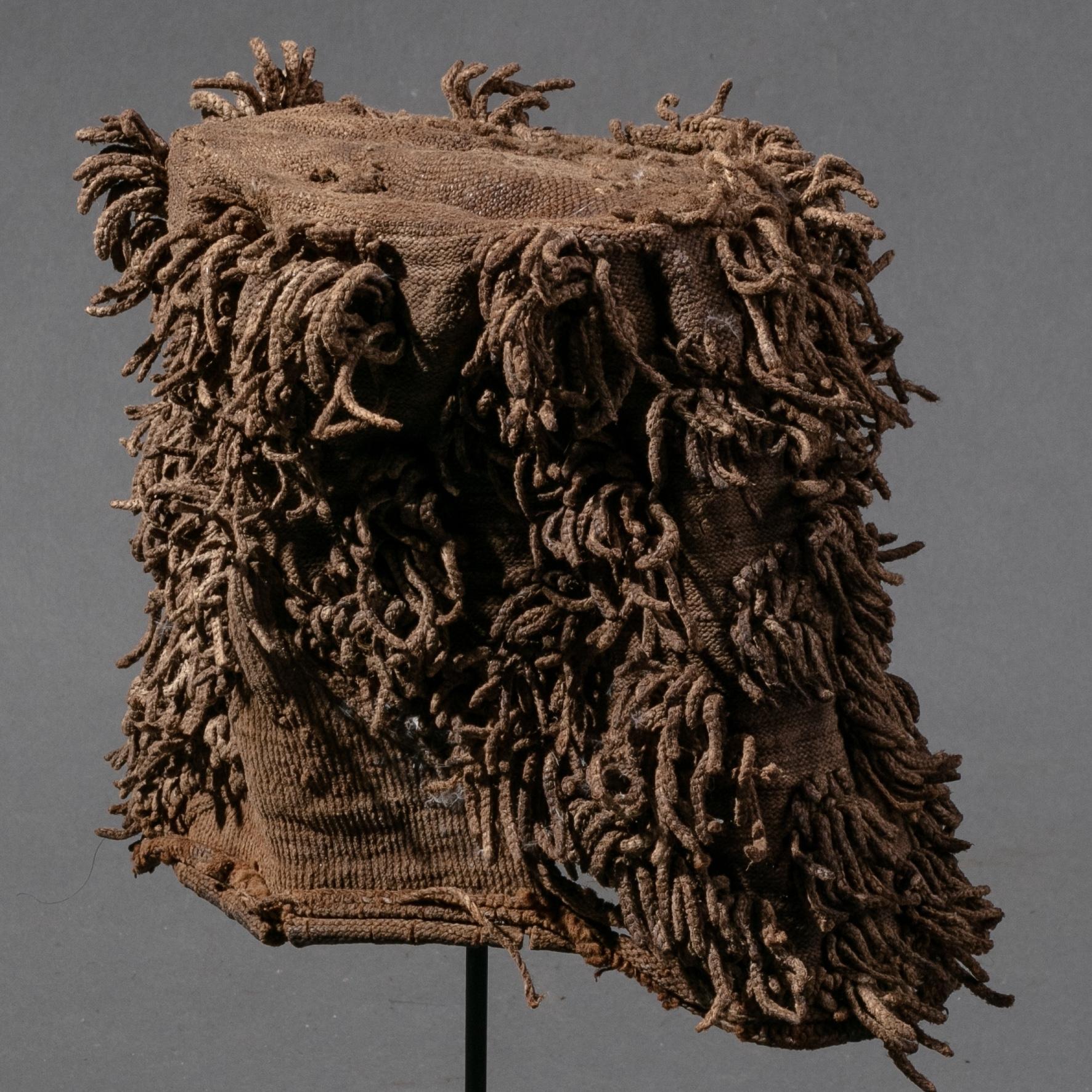 A TIME WORN BAMILEKE TRIBE COTTON HAT ( No 872 )