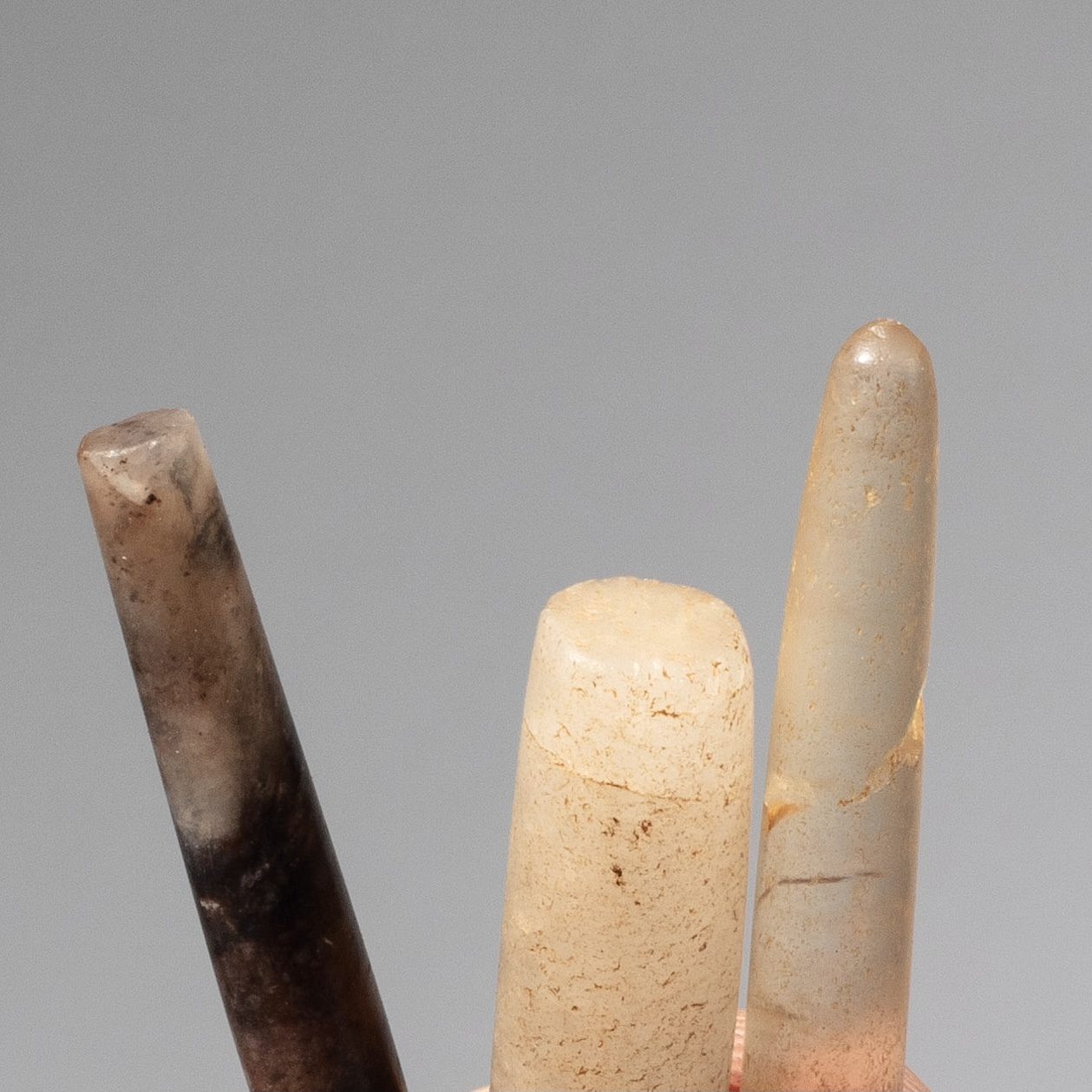 3 ETHEREAL ANCIENT STONE LIP PLUG LABARETS, SAHARA, W AFRICA ( No 4287)