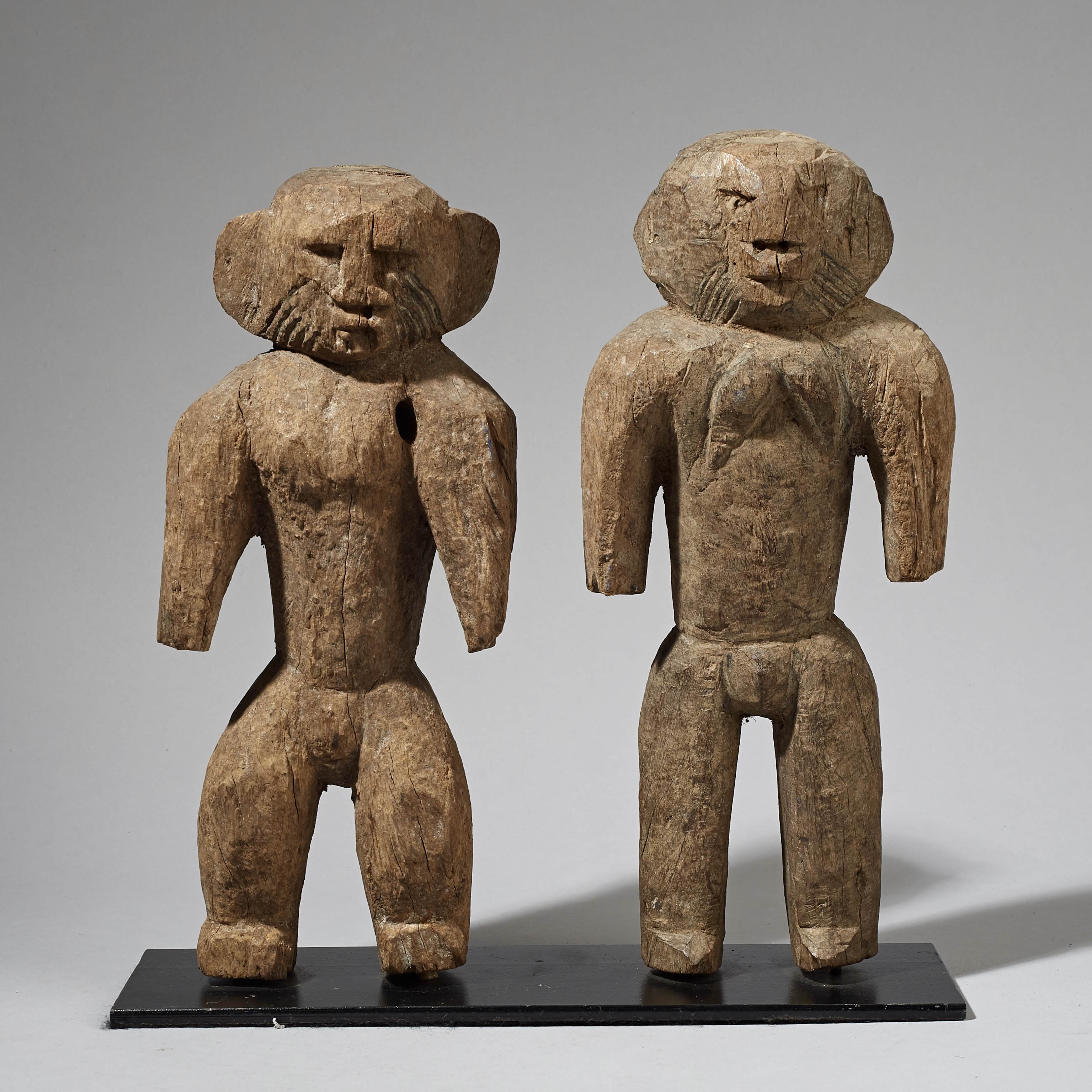 A QUIRKY LARGE HEAVY PAIR OF LAMBA TRIBE STATUES FROM NORTHERN TOGO ( No 3036 )