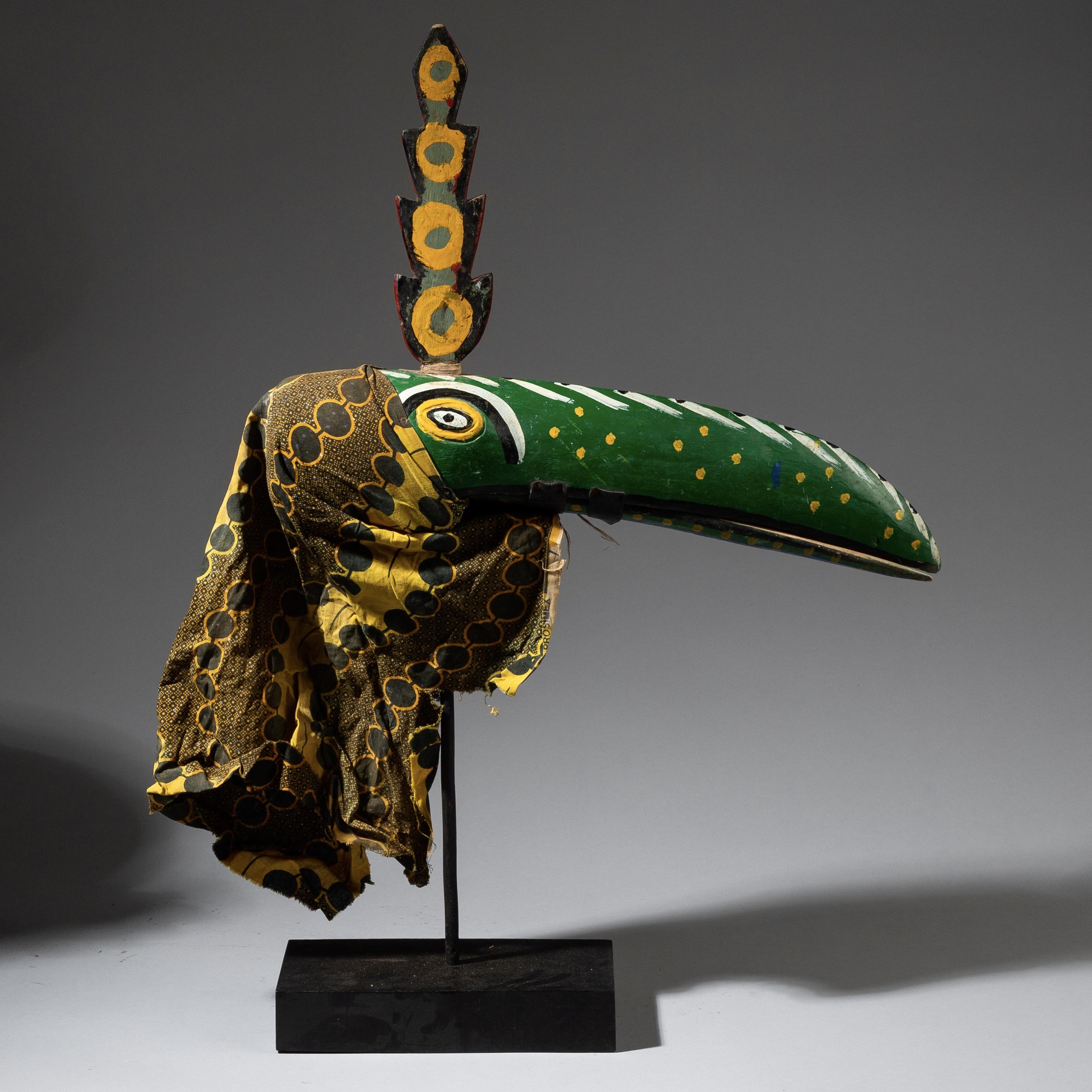 SD A BOZO BIRD MARIONETTE WITH POLYYCHROME  PATINA MALI  ( No 3209  )