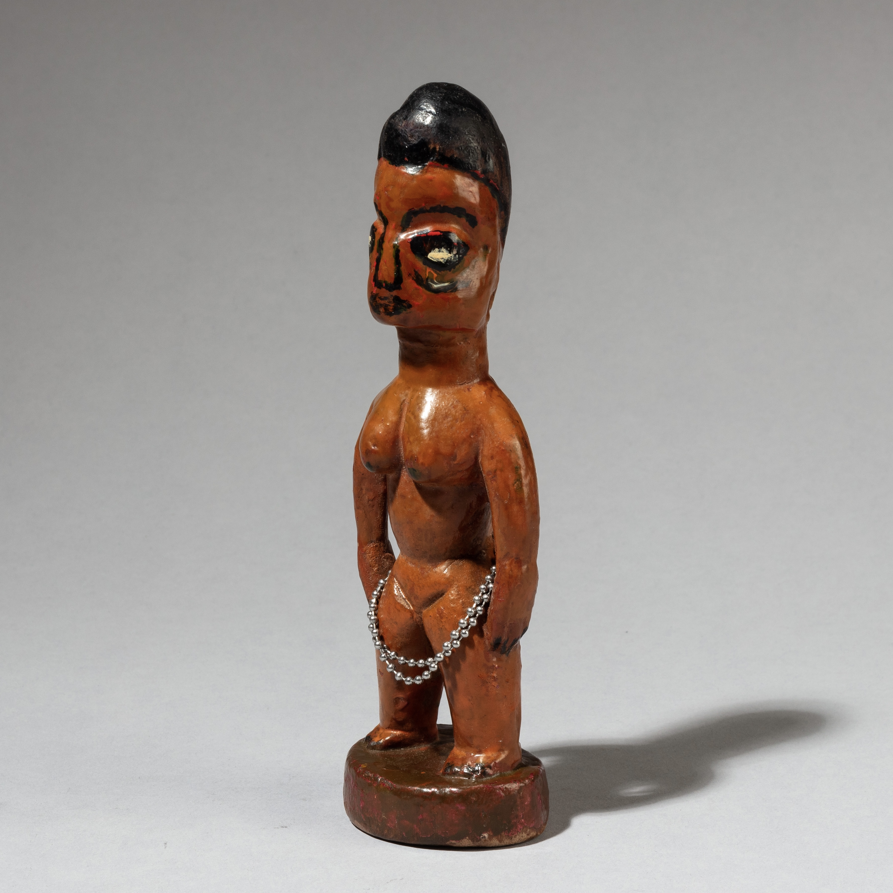 AN EARTH COLOURED PAINTED VENAVI DOLL FROM EWE TRIBE BENIN ( No 3389 )