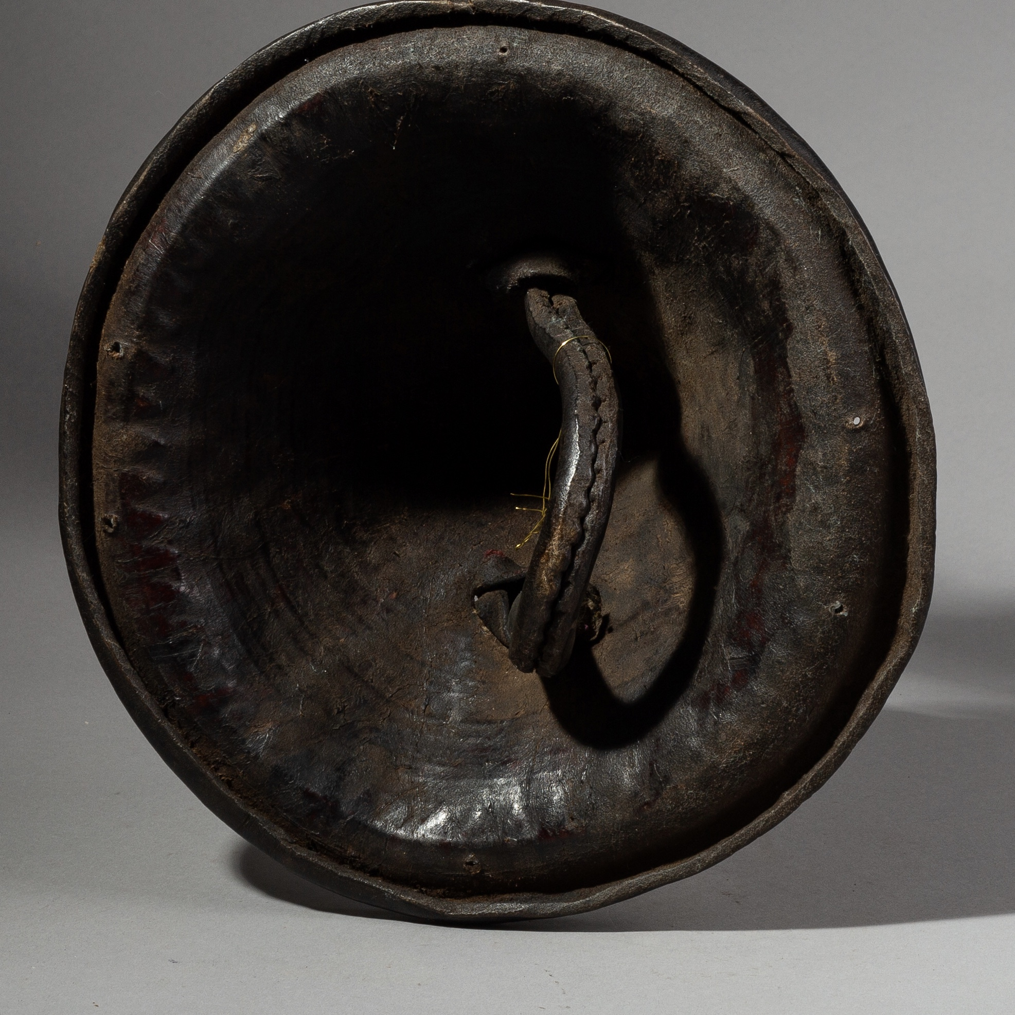 A HAT SHAPED 19THC ETHIOPIAN LEATHER SHIELD ( No 1810 )