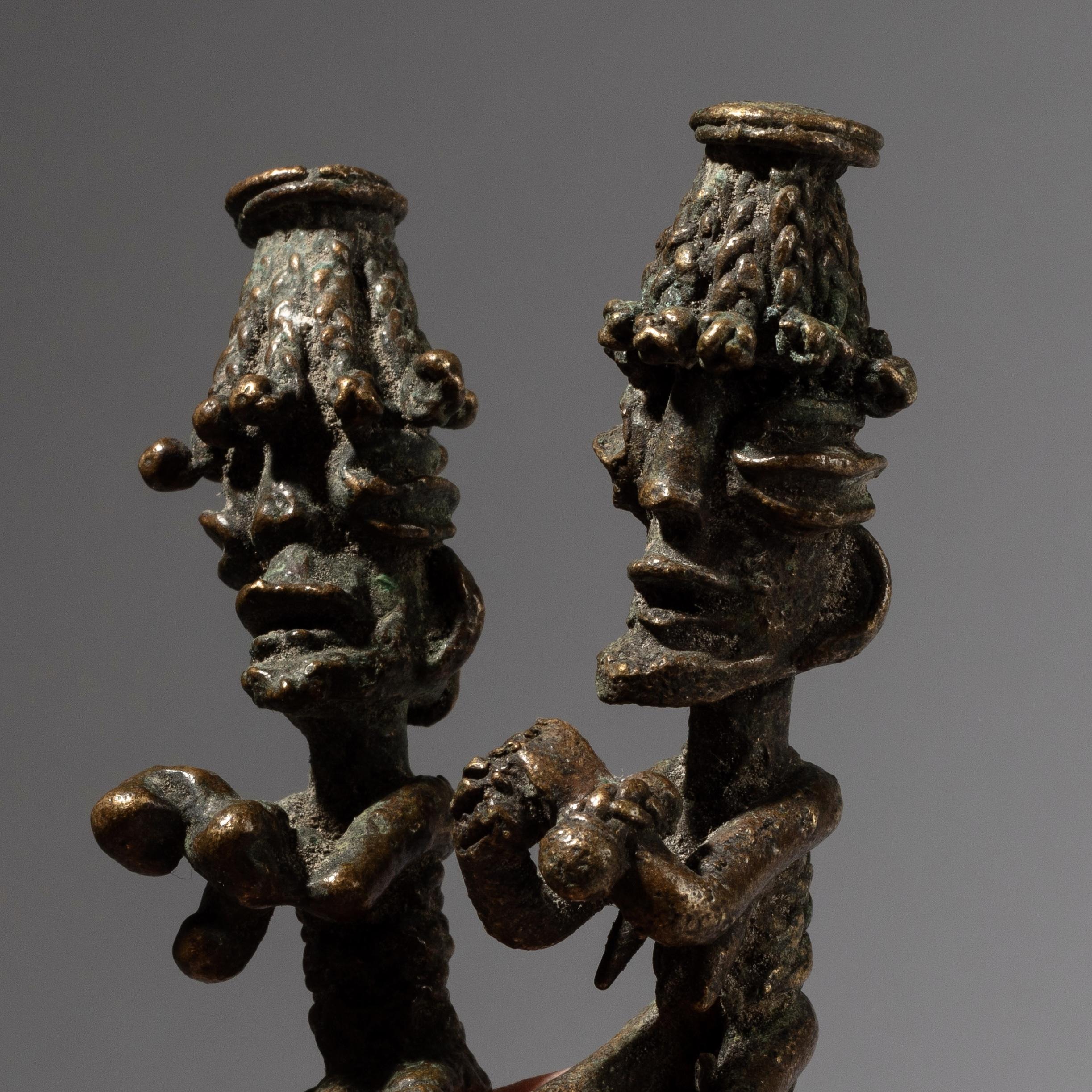 DA BIZARRE PAIR OF OGBONI BRONZE FIGURES, YORUBA TRIBE OF NIGERIA ( No 4262)