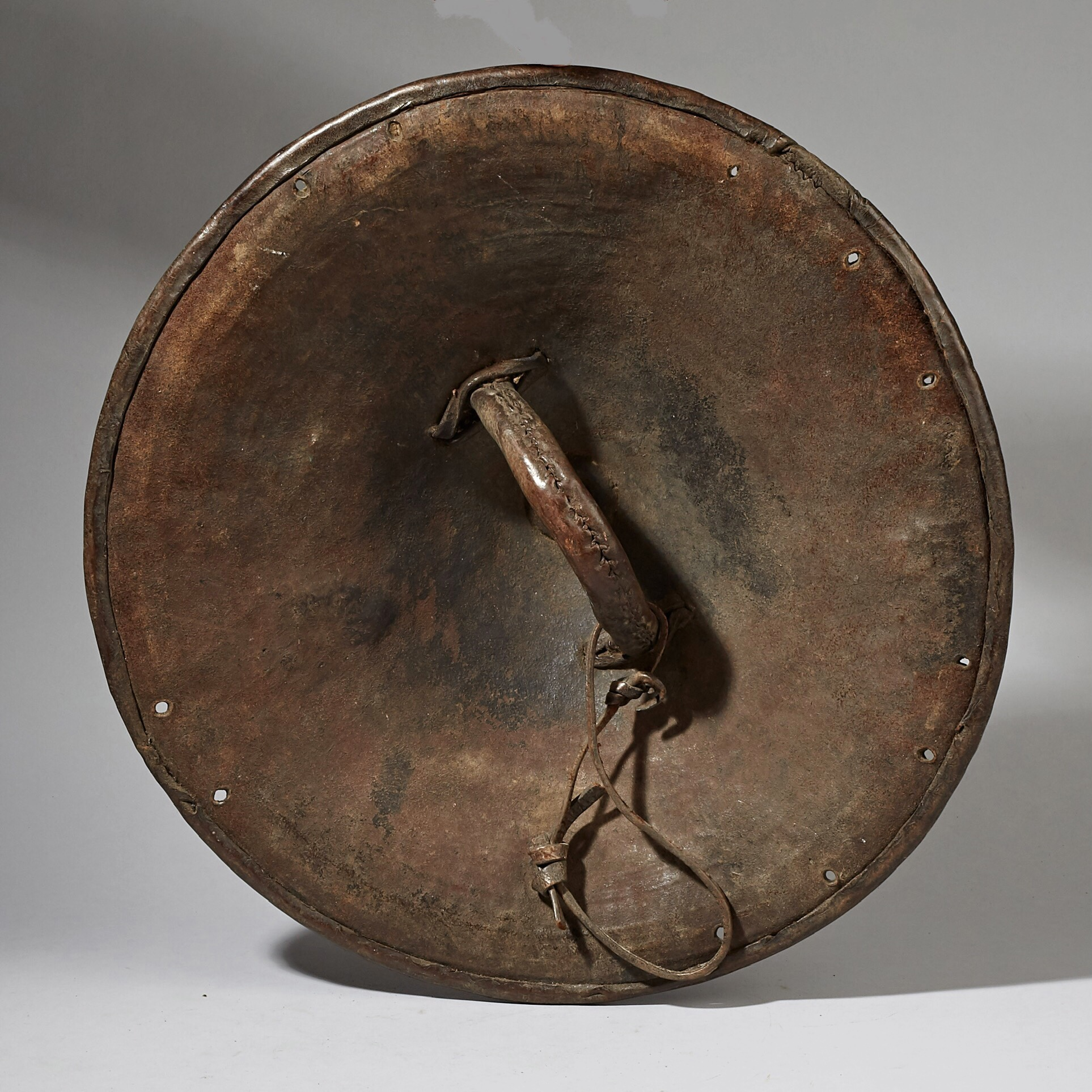 A SUPERB EMBOSSED 19THC LEATHER SHIELD FROM ETHIOPIA ( No 3303 )