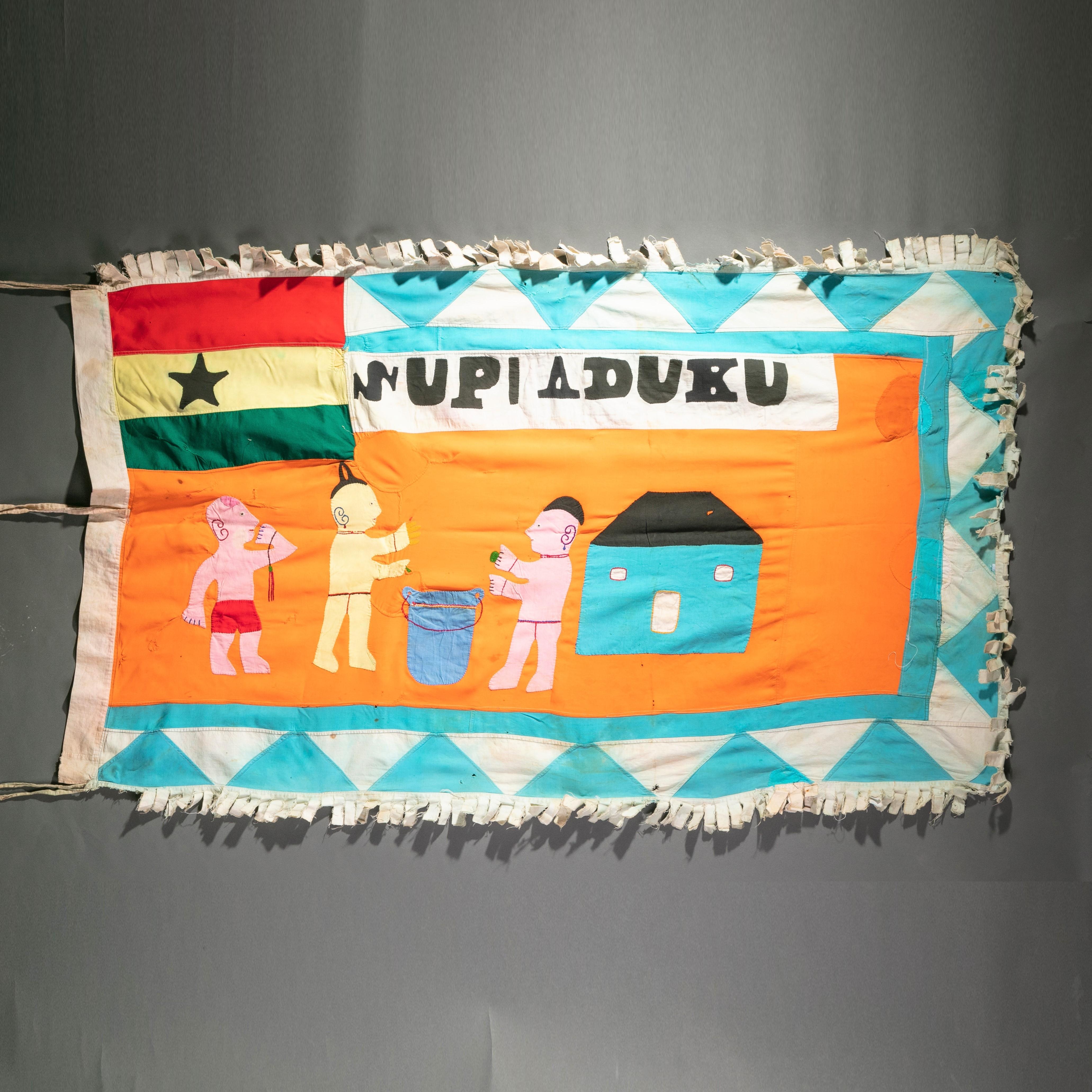 A QUAINT VILLAGE SCENE ASAFO FLAG FROM GHANA ( No 983 )