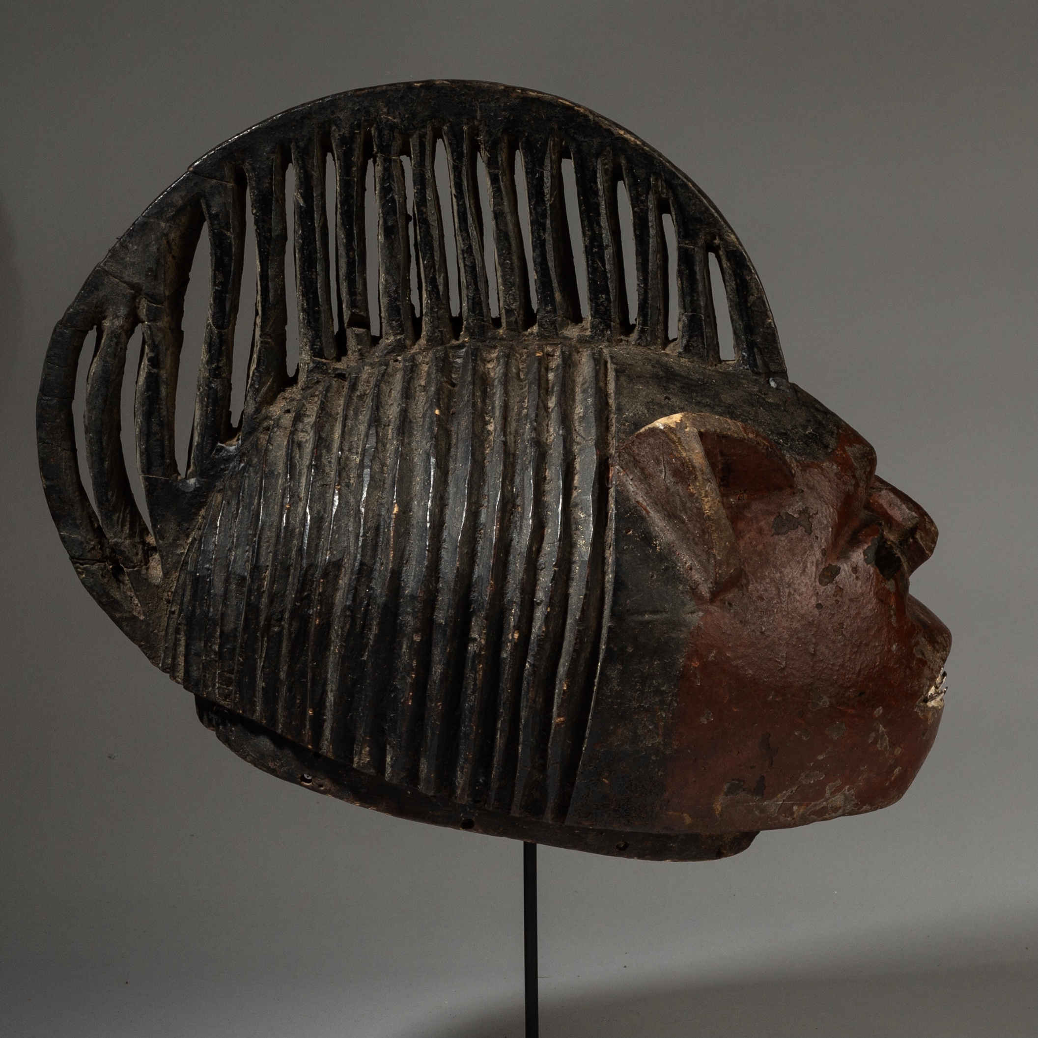 A LARGE HEADDRESS WITH METAL TEETH, NIGERIA ( No 3116 )