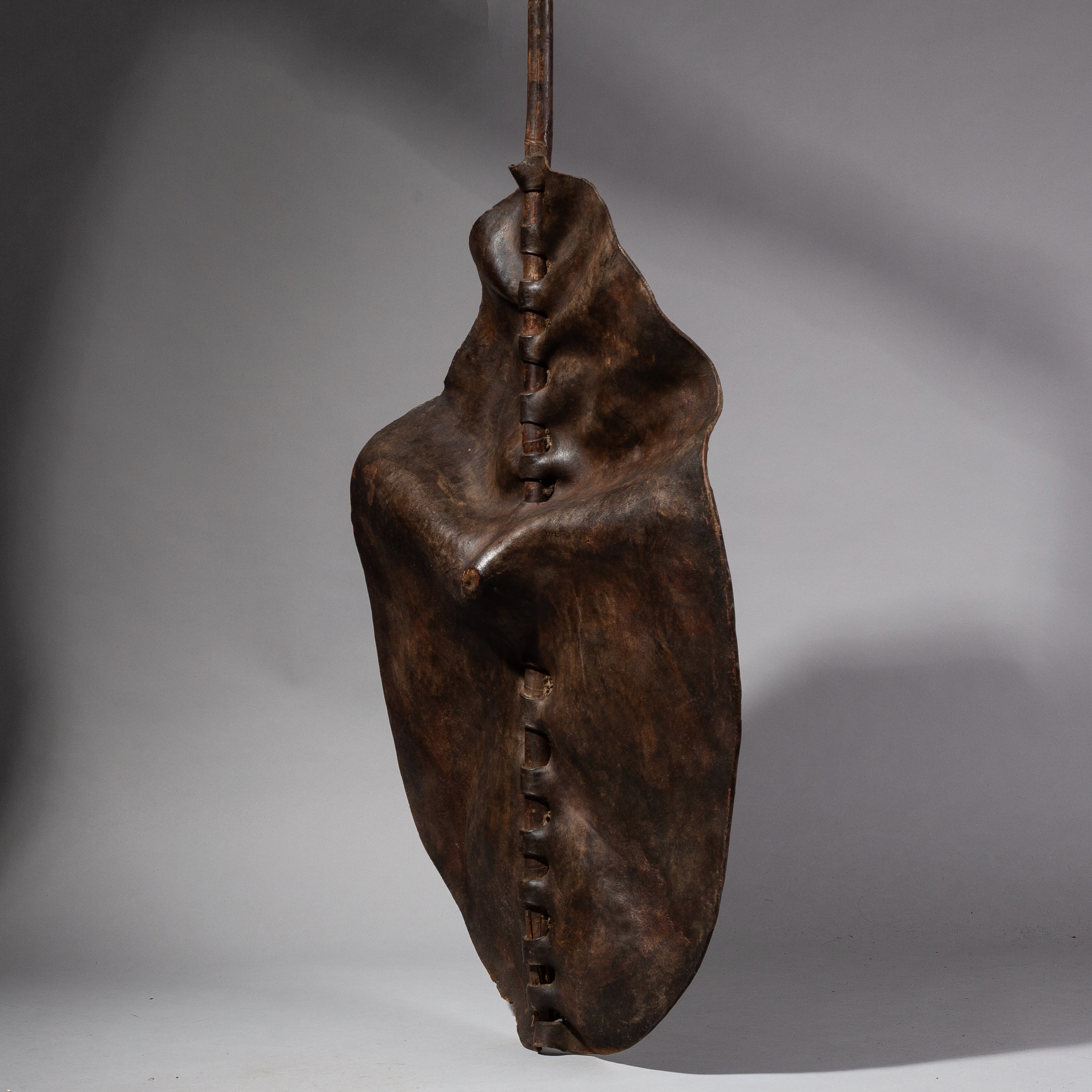 SD A DRAMATICALLY ROUCHED DINKA LEATHER SHIELD FROM SUDAN ( No 2002 )
