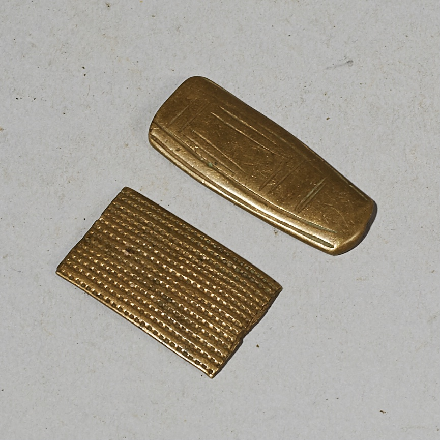 2 EXCEPTIONALLY FINE 18-19THC AKAN GOLD MEASURING WEIGHTS, IVORY COAST( No 4140 )