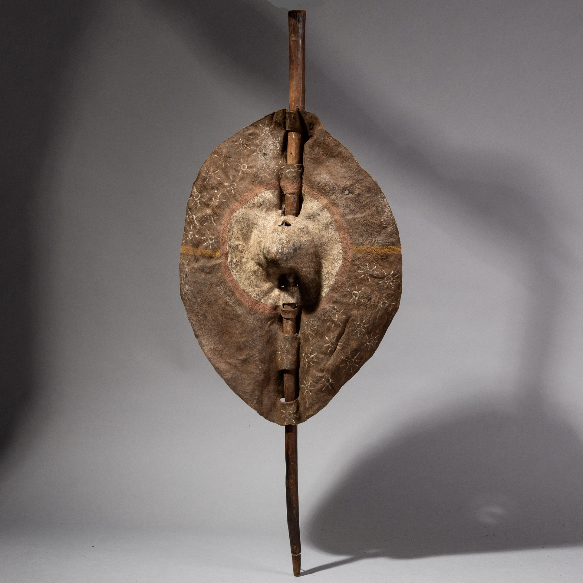 ( SOLD- LY )- SD A FINELY DECORATED LEATHER SHIELD FROM TANZANIA ( No 2049 )