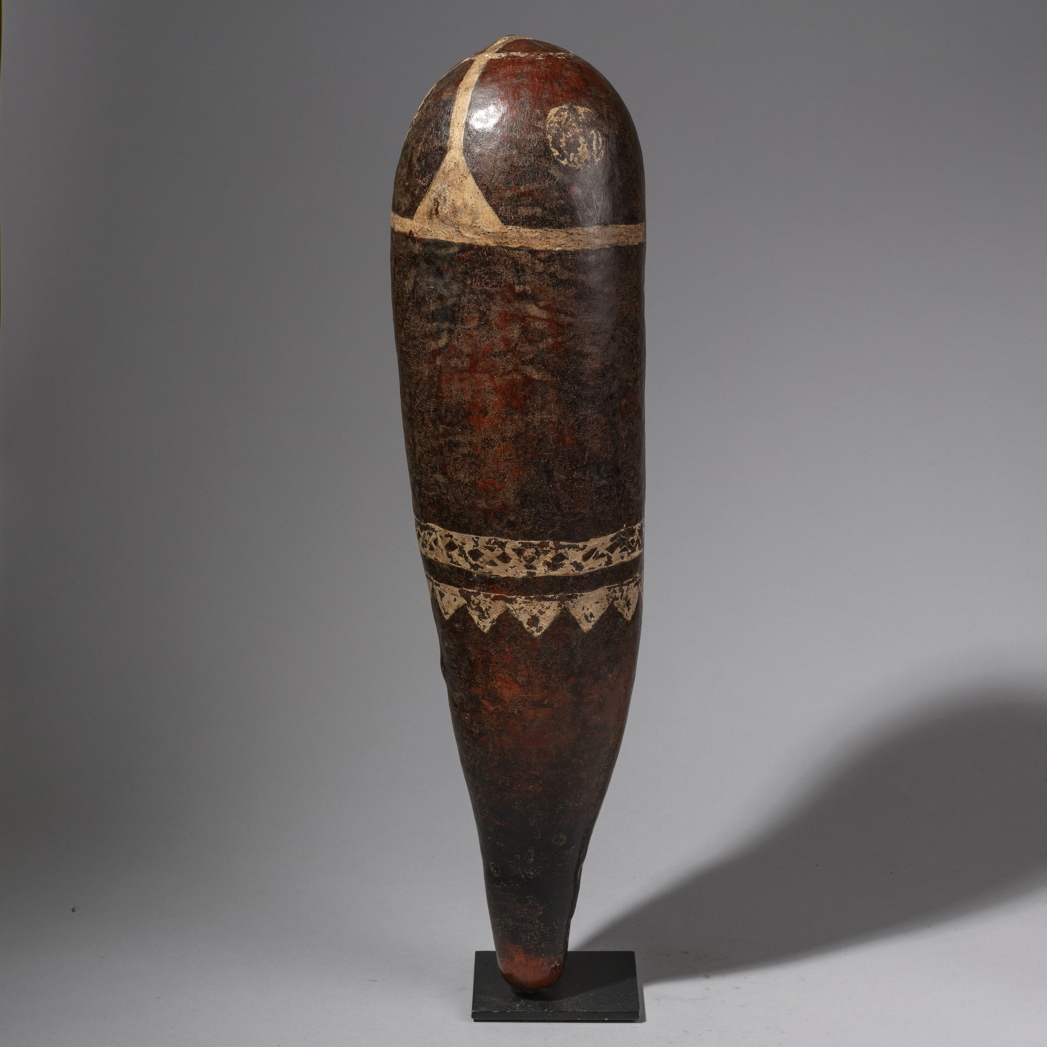 ( SOLD- LY ) -SD A BEAUTIFULLY  PATINATED GOURD    BAG FROM KENYA    WITH ARTISTIC PATTERNS   ( No 1293 )