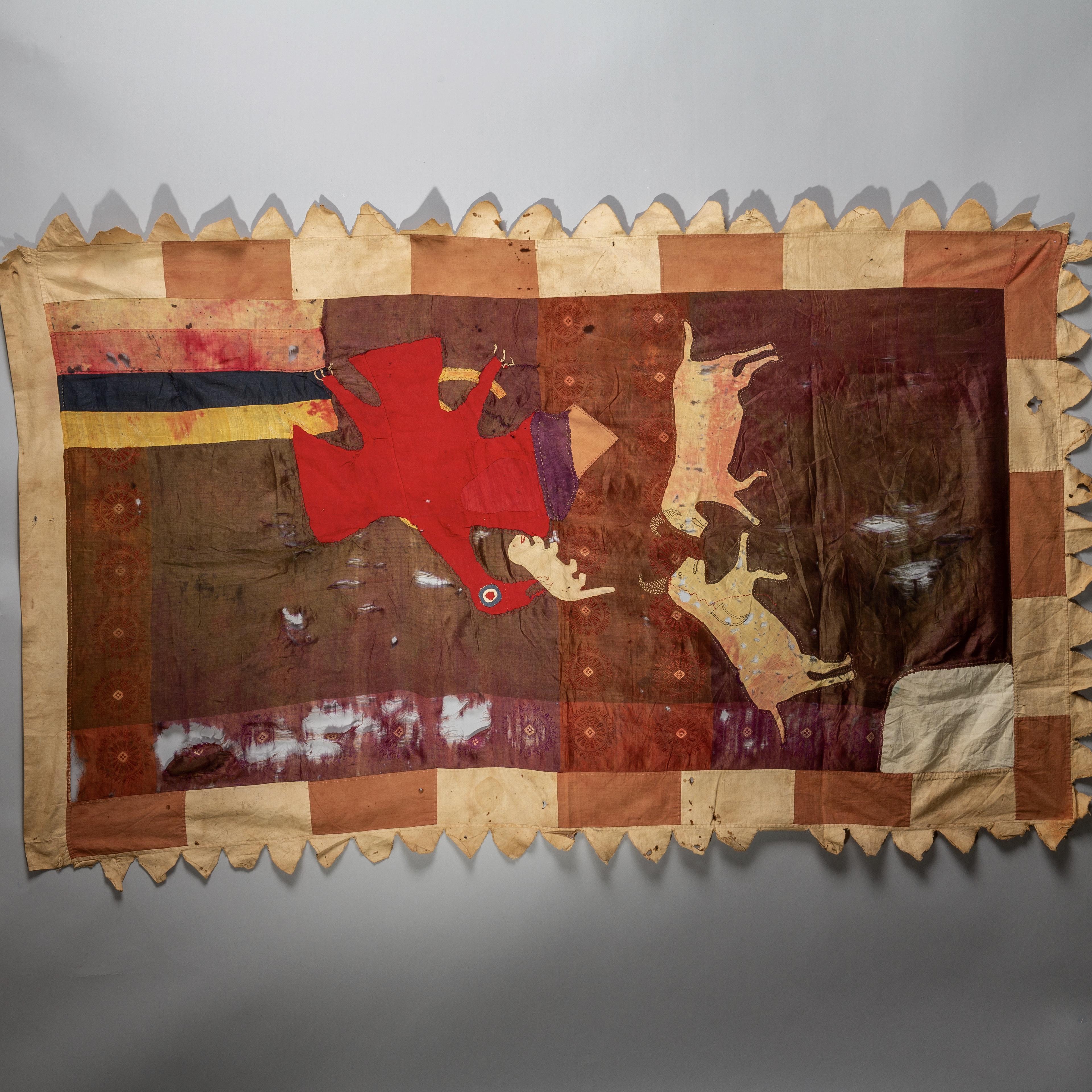A RARE SILK FANTE FLAG FROM GHANA ( No 1670 )