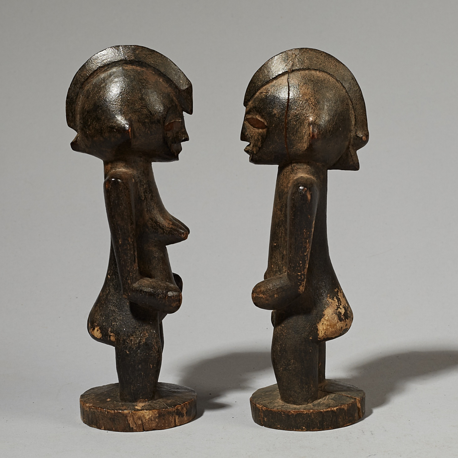 XI PAIR OF SENOUFO CHARM FIGURES FROM THE IVORY COAST W AFRICA ( No 4119)