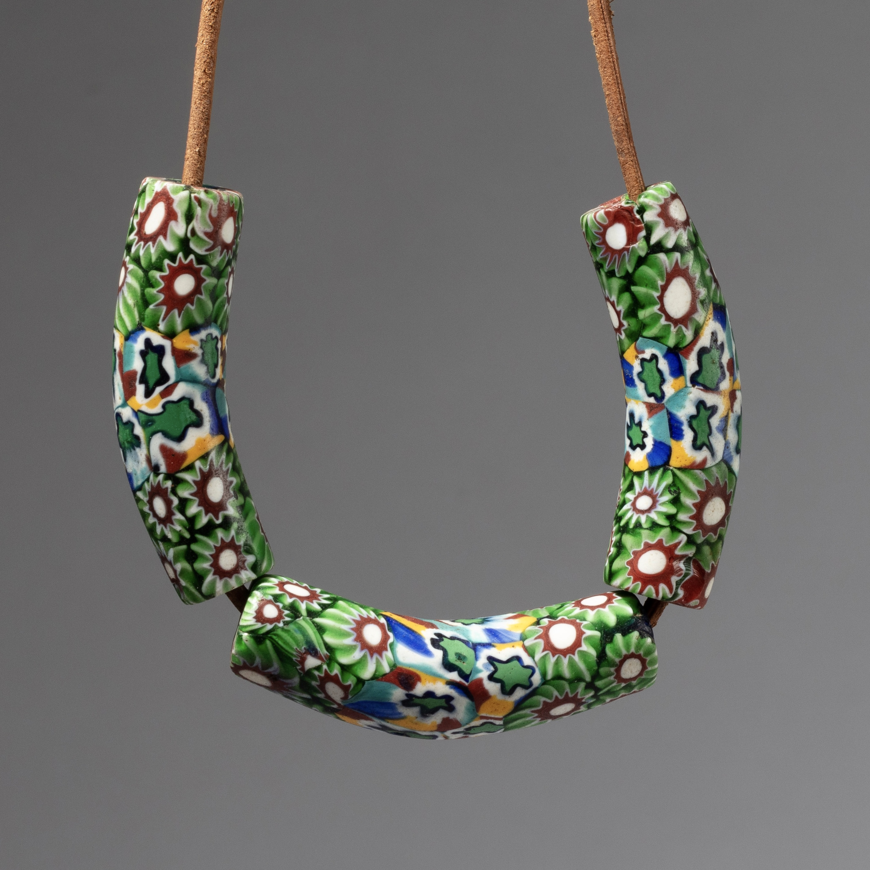 3 EXQUISITE 19THC VENETIAN GLASS MILLE FIORE LARGE TRADE BEADS ( No 4352)