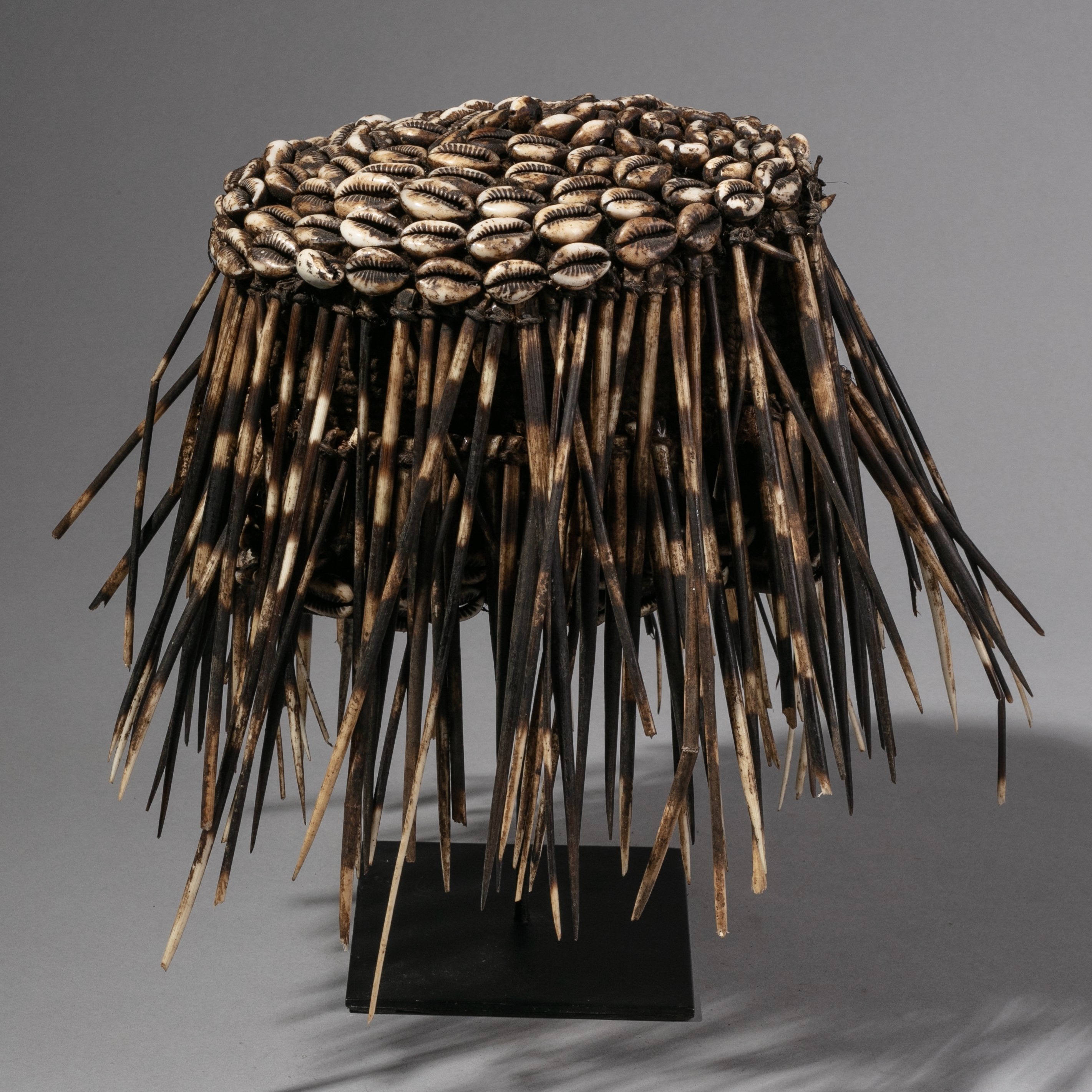 A PORCUPINE HAT FROM THE BAMILEKE TRIBE CAMEROON ( No 1217 )