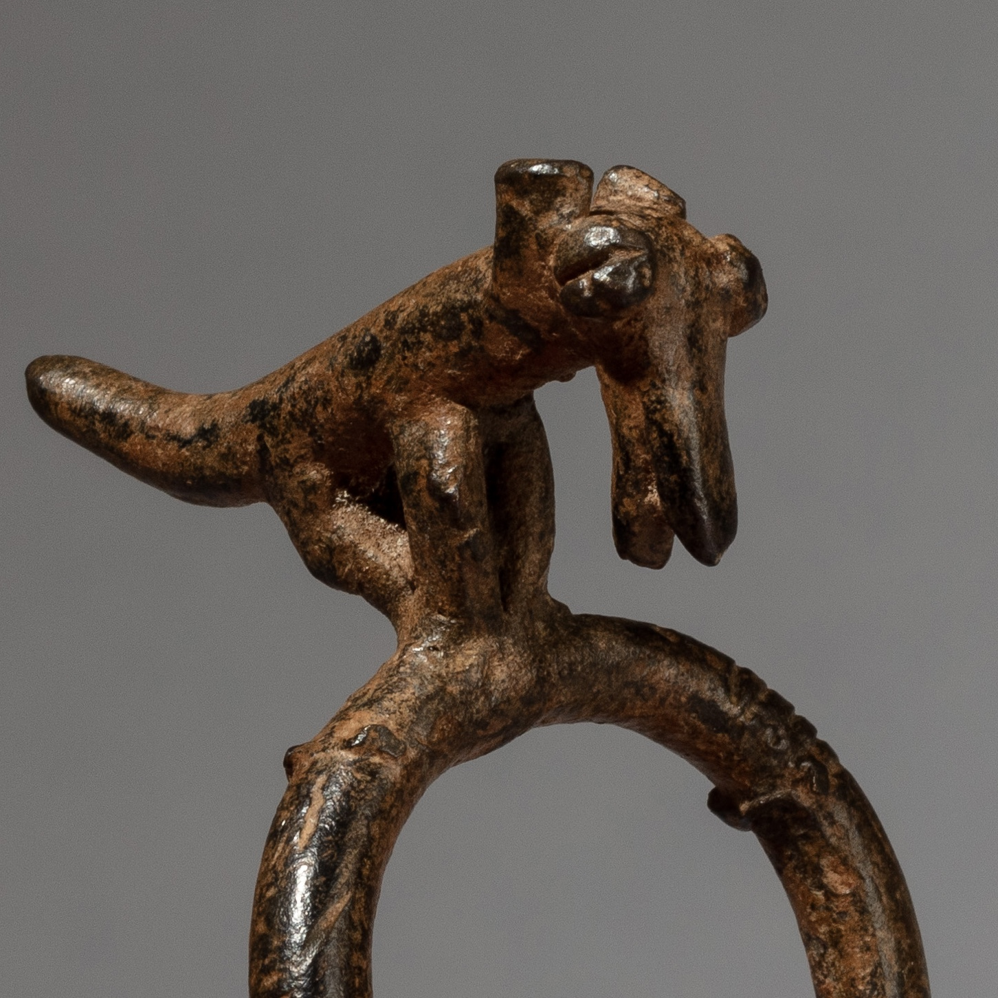 A BRONZE ANIMAL RING FROM BURKINA FASO ( No 3367 )