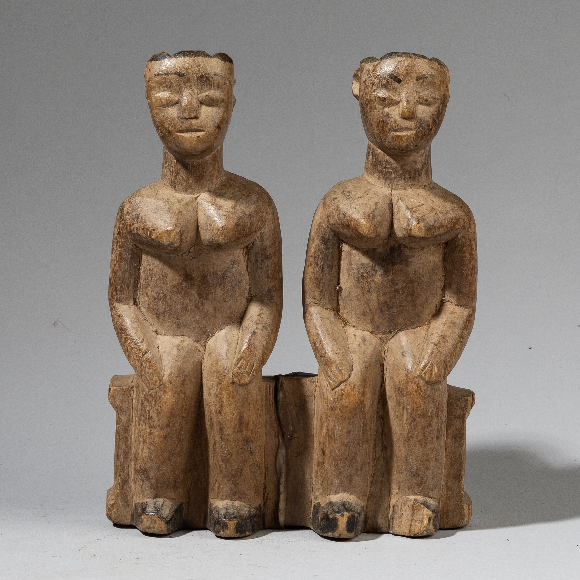 A PAIR OF HUMANISTIC EWE ALTAR FIGURES FROM GHANA ( No 4206)