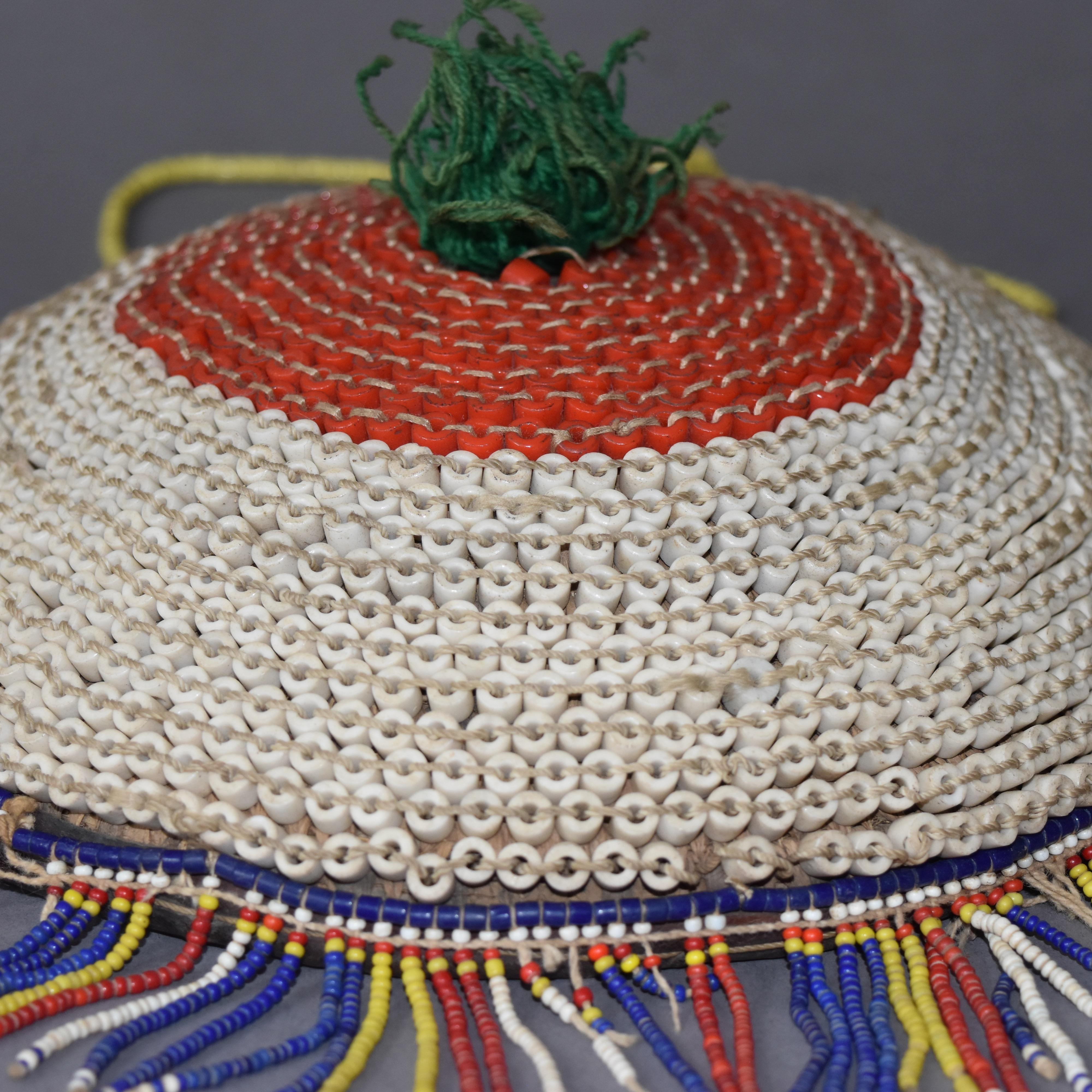 RARE KIRDI TRIBE BEADED HAT FROM CAMEROON ( No 526 )