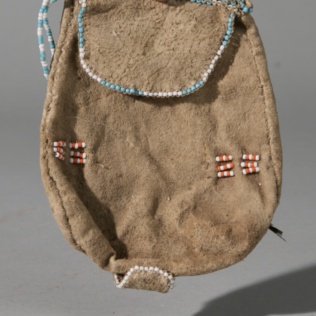 A SAN 'BUSHMAN' BEADED LEATHER BAG, NAMIBIA, SW AFRICA ( No 3932 )