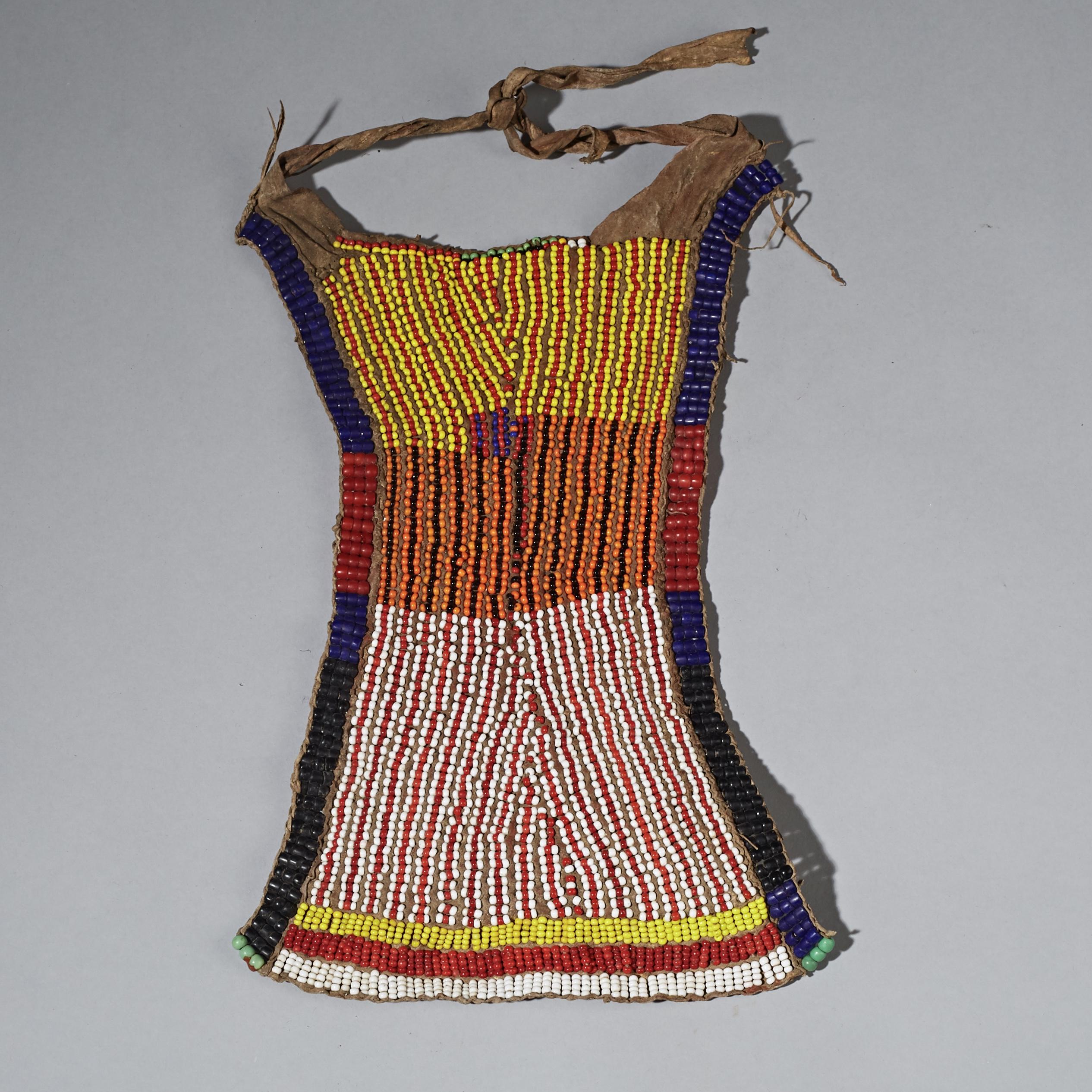 A GRAPHIC TURKANA TRIBE BEADED APRON KENYA ( No 2310 )