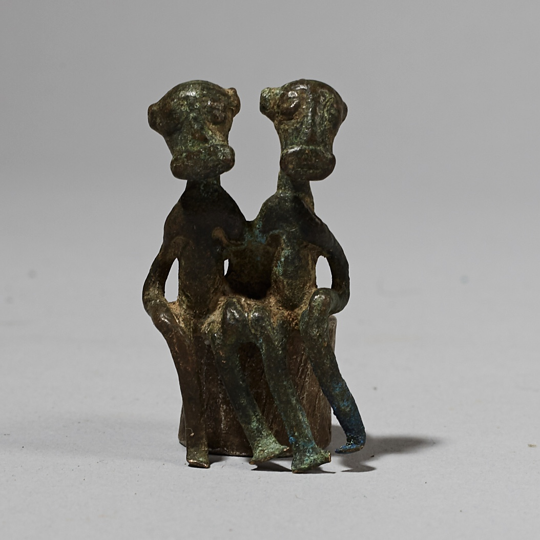 RESERVED  - AN UNUSUAL ANTIQUE KULANGO FIGURATIVE BRONZE FROM THE IVORY COAST W AFRICA ( No 4116)