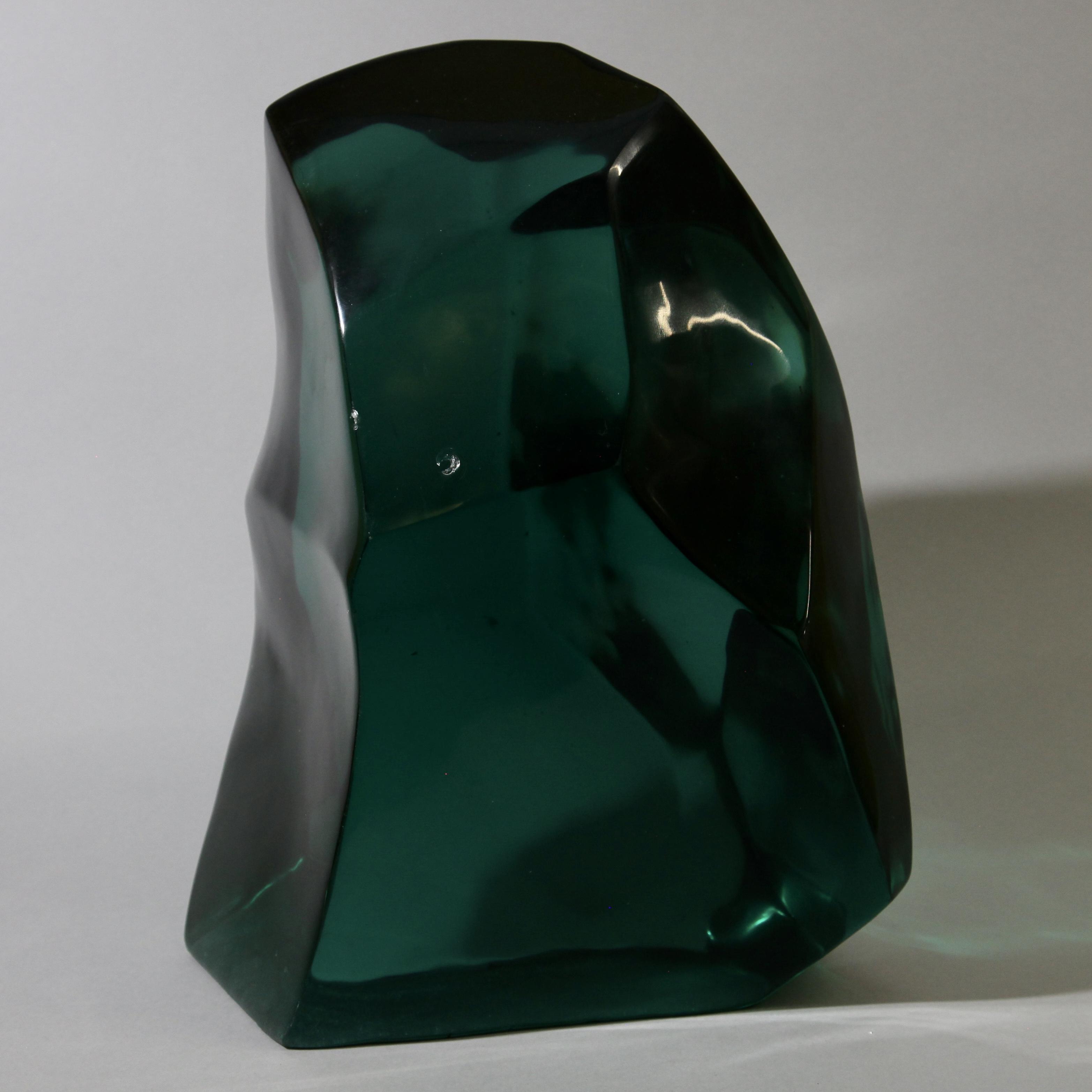 A LARGE DEEP TEAL GLASS SCULPTURE ( No 1187 )
