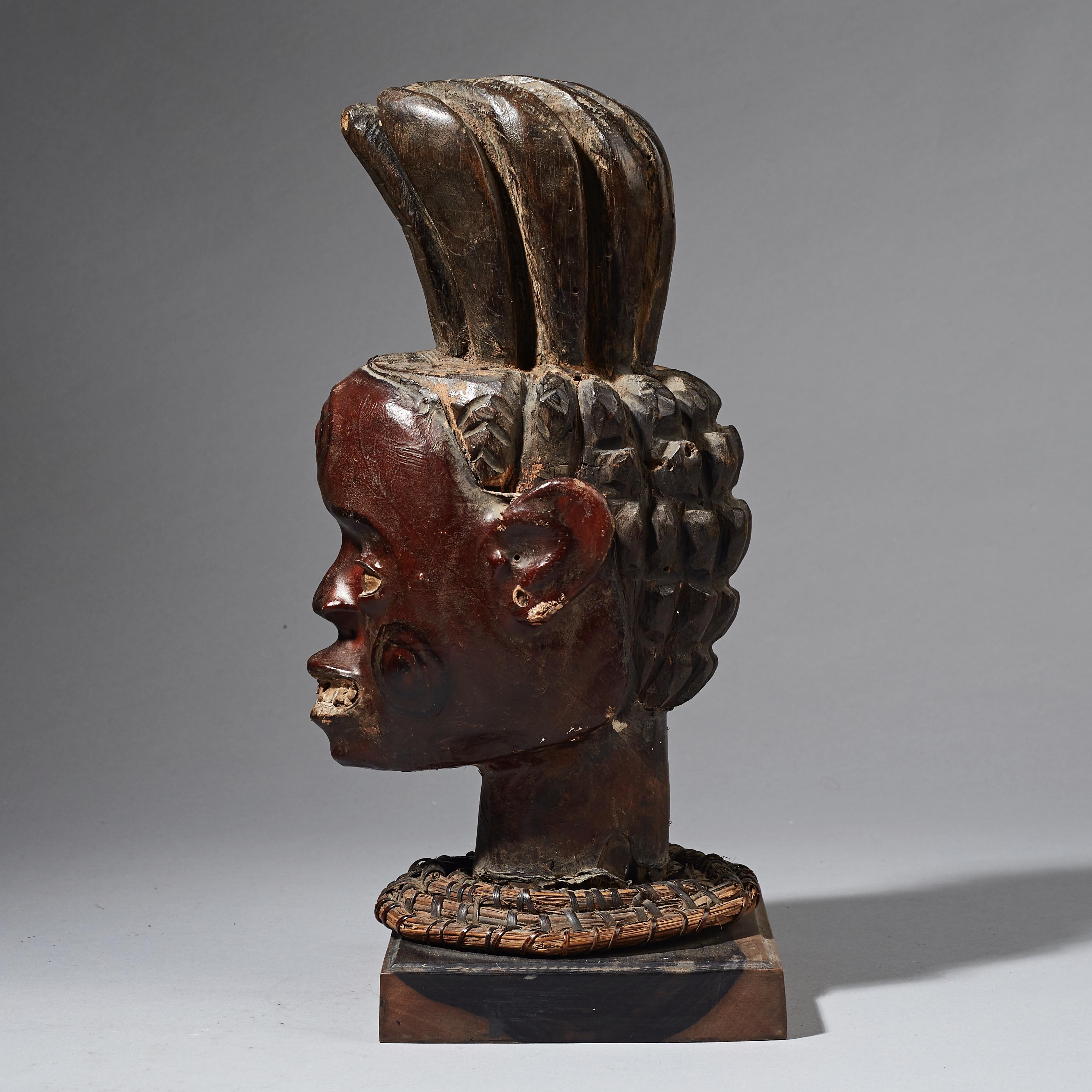 A STUNNING EKOI HEADDRESS WITH HUMAN BUST, NIGERIA ( No 2518 )