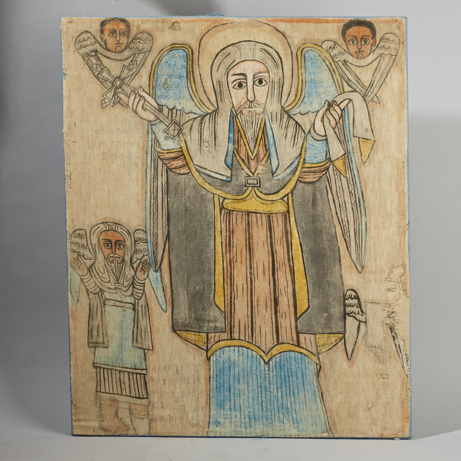 AN OLD MOUNTED ETHIOPIAN PAINTING OF A SAINT ( No 2981 )