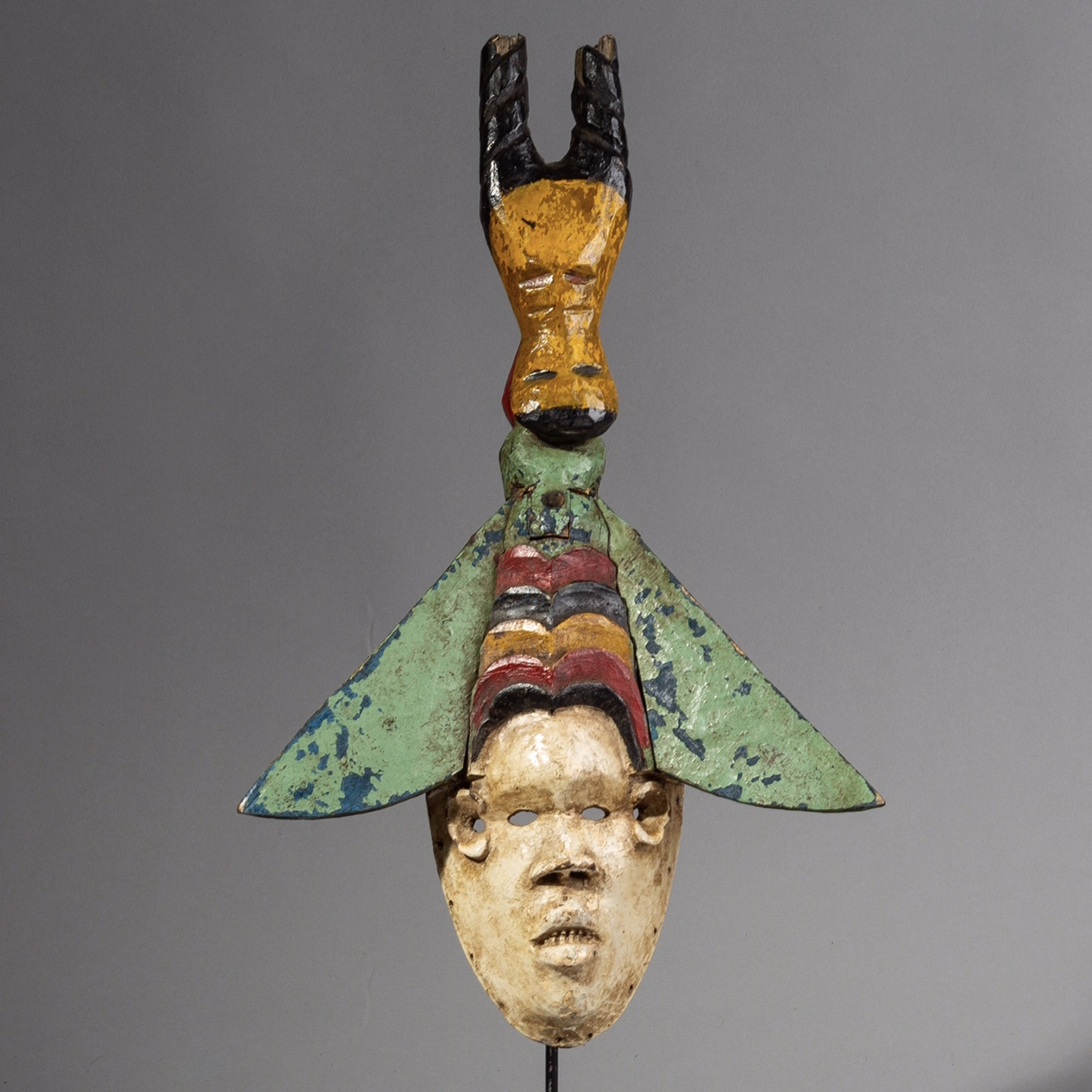 A WINGED FESTIVAL IGBO  MASK FROM NIGERIA ( No 1461 )