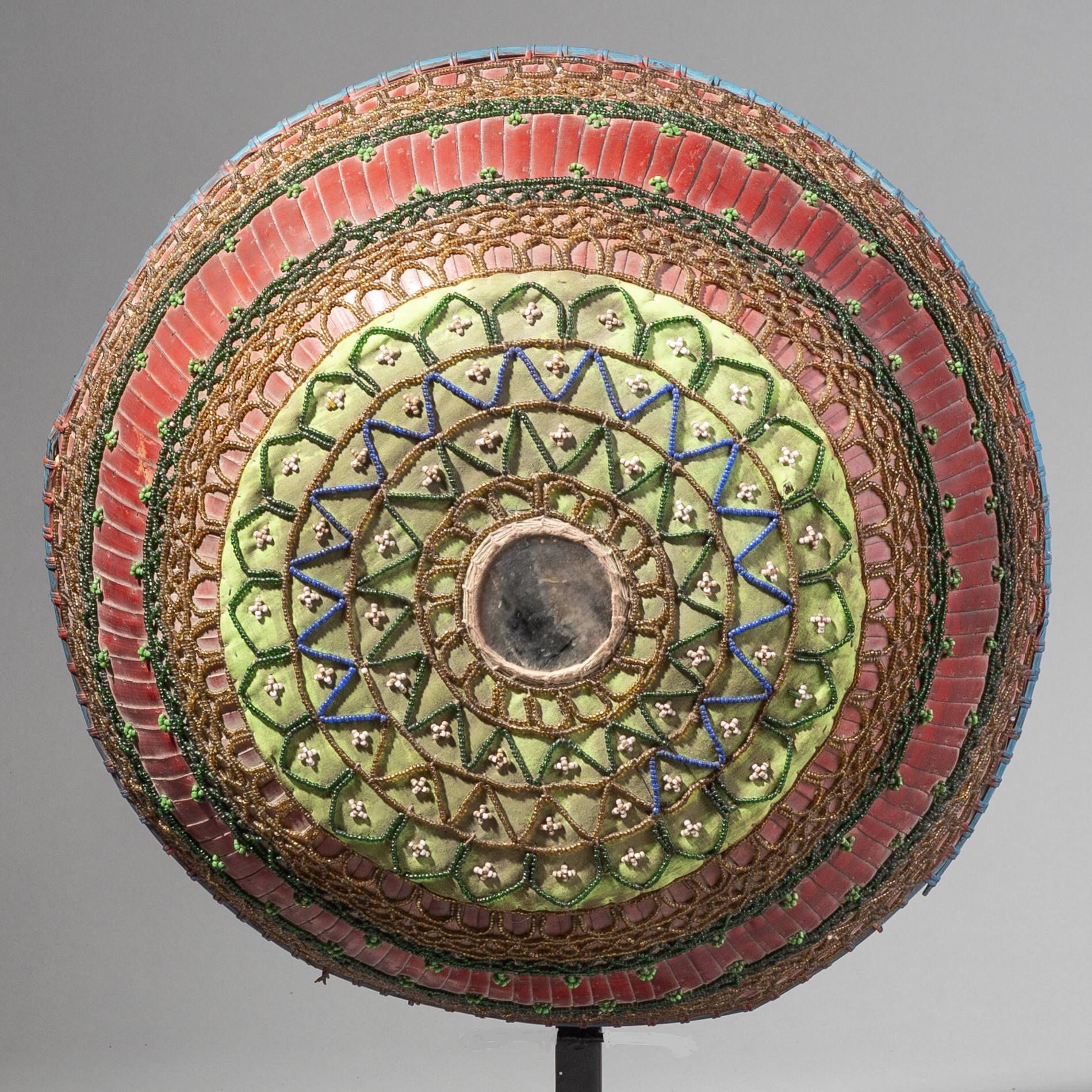 A SACRED HINDU FOOD COVERING BASKET WITH MIRROR FROM BALI ( No 1762 )