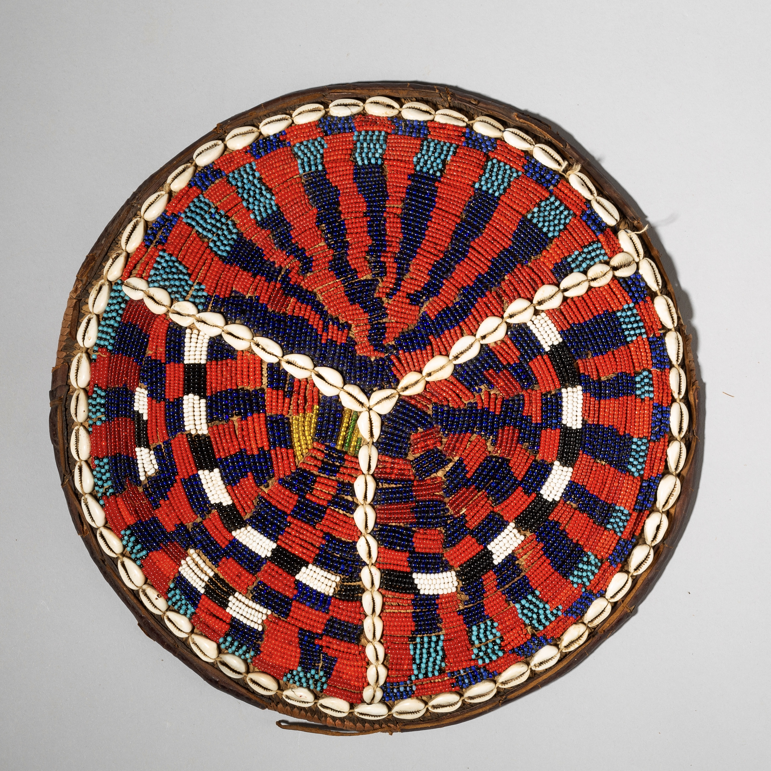 A BIG, BEAUTIFULLY BEADED BEER POT COVER FROM NIGERIA ( No 4072)
