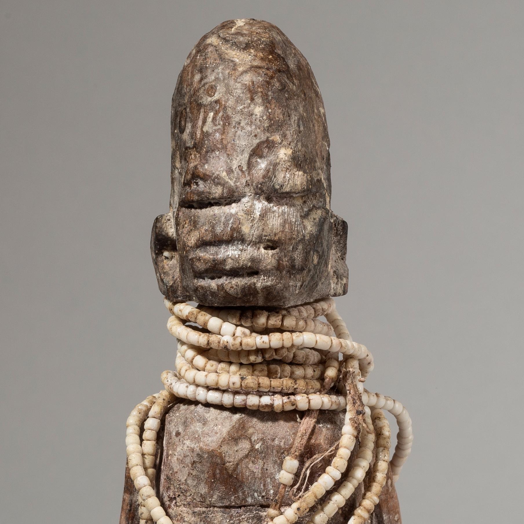 A FON POWER FIGURE WITH BEAD ADORNMENT, BENIN W AFRICA ( No 3943)