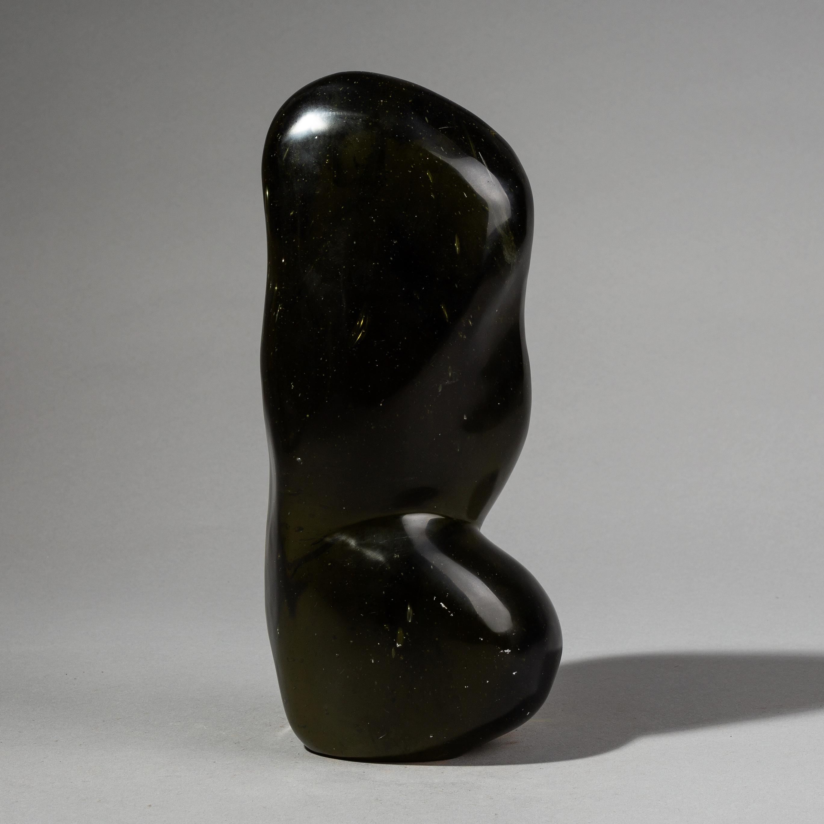A DARK + EVOCATIVE NATURAL GLASS SCULPTURE ( No 2669 )
