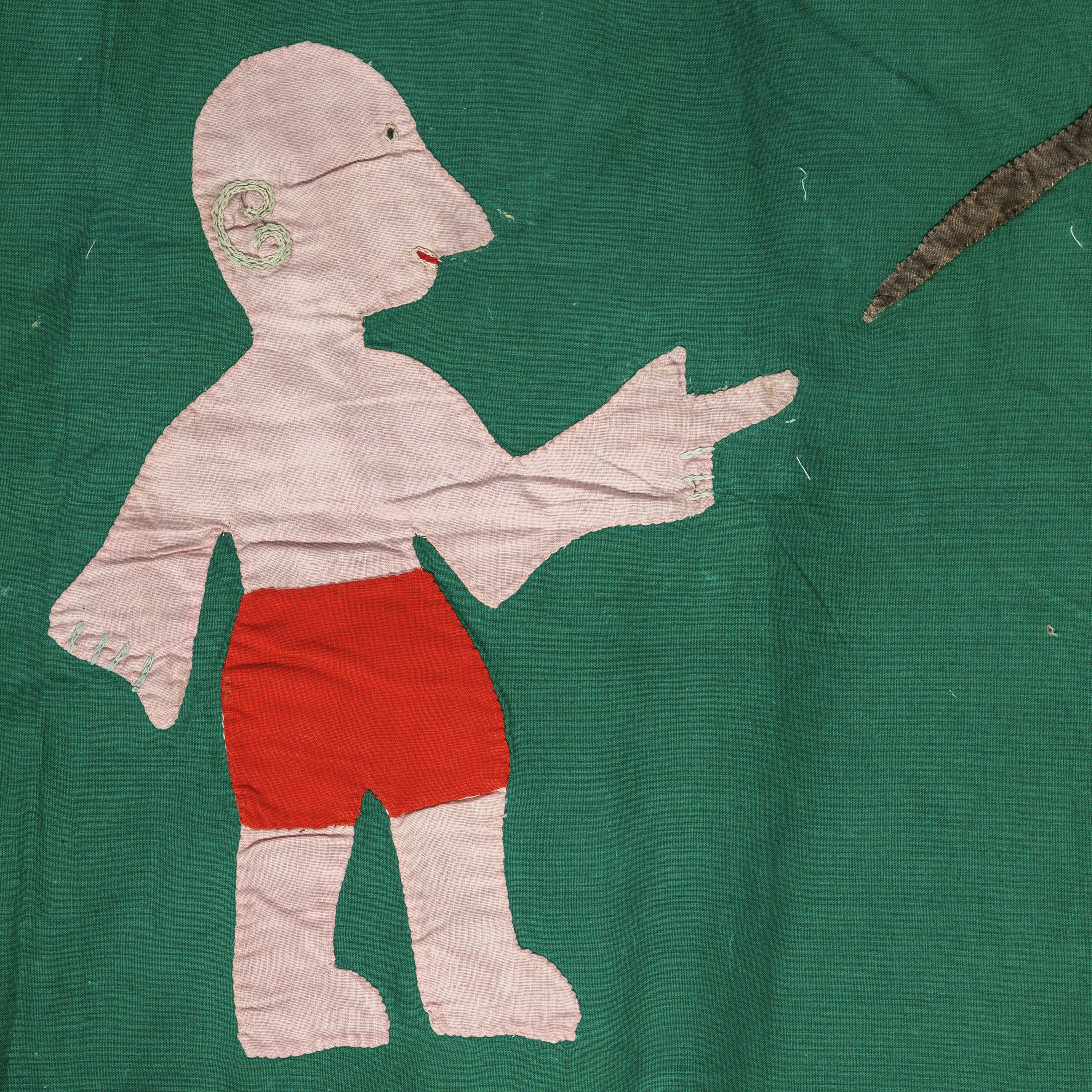 A CHARMING ASAFO FLAG FROM THE FANTE TRIBE GHANA ( No 1897 )