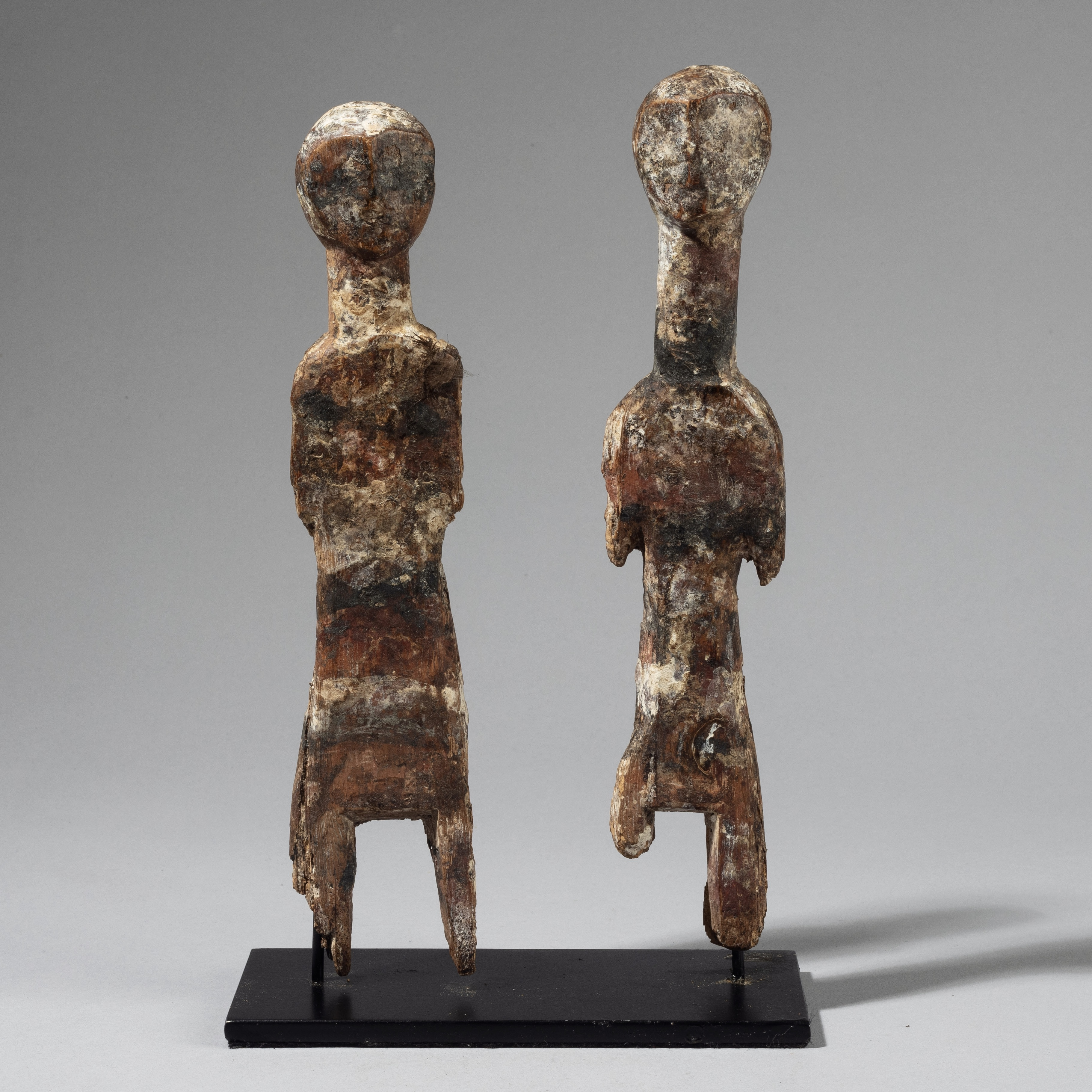 A TALL PAIR OF STRIPED ADAN ANCESTOR  FIGURES FROM GHANA W AFRICA ( No 4229)
