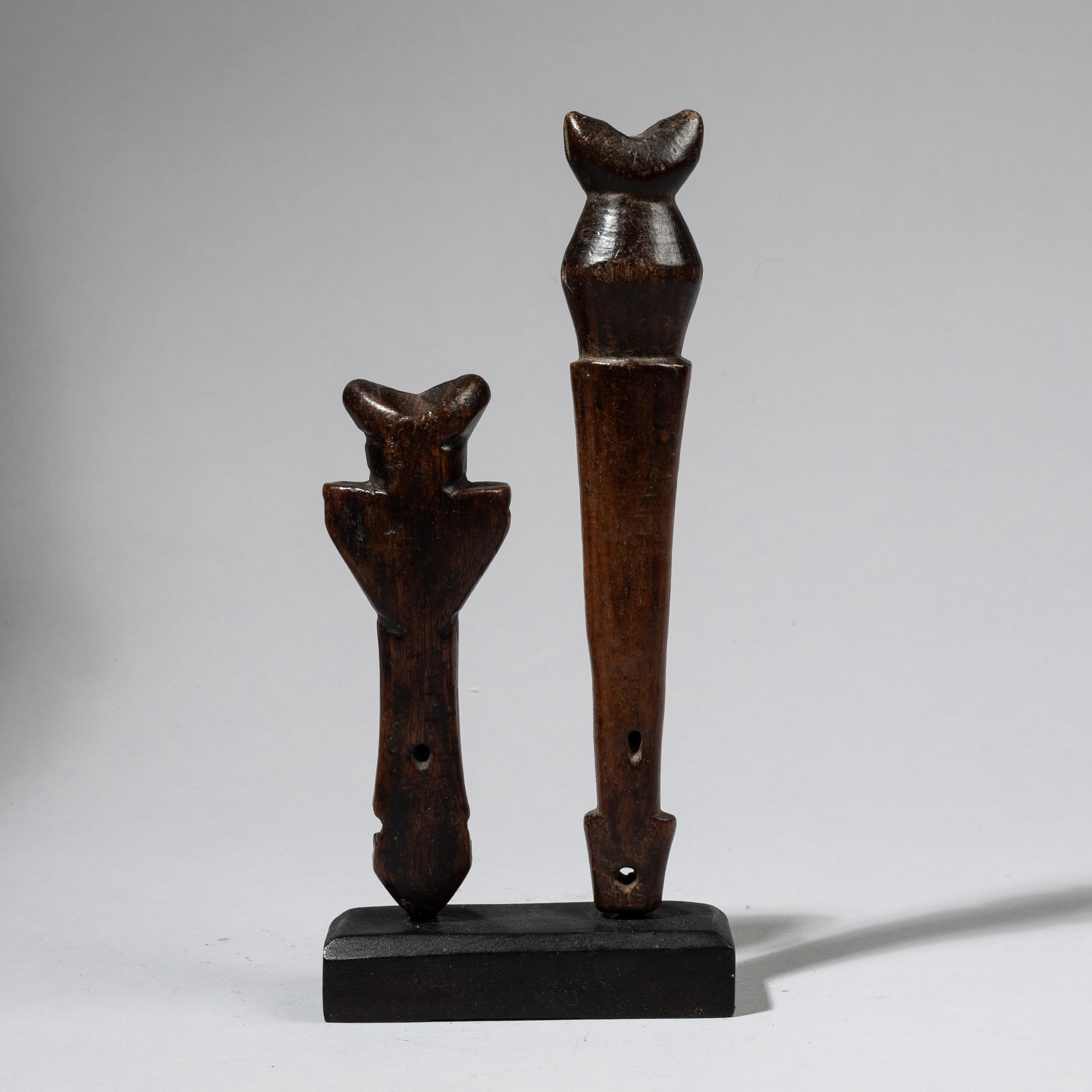2 SOPHISTICATED WHISTLES, LOBI TRIBE BURKINA FASO W. AFRICA ( No 4411)