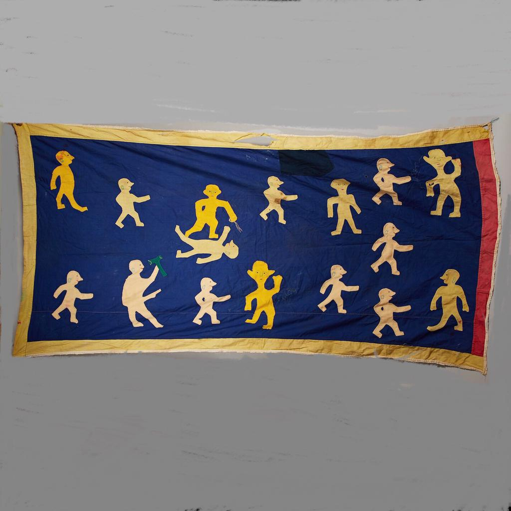 GIGANTIC ASAFO FLAG WITH 16 FIGURES, FANTE TRIBE GHANA W AFRICA  ( No 4120)