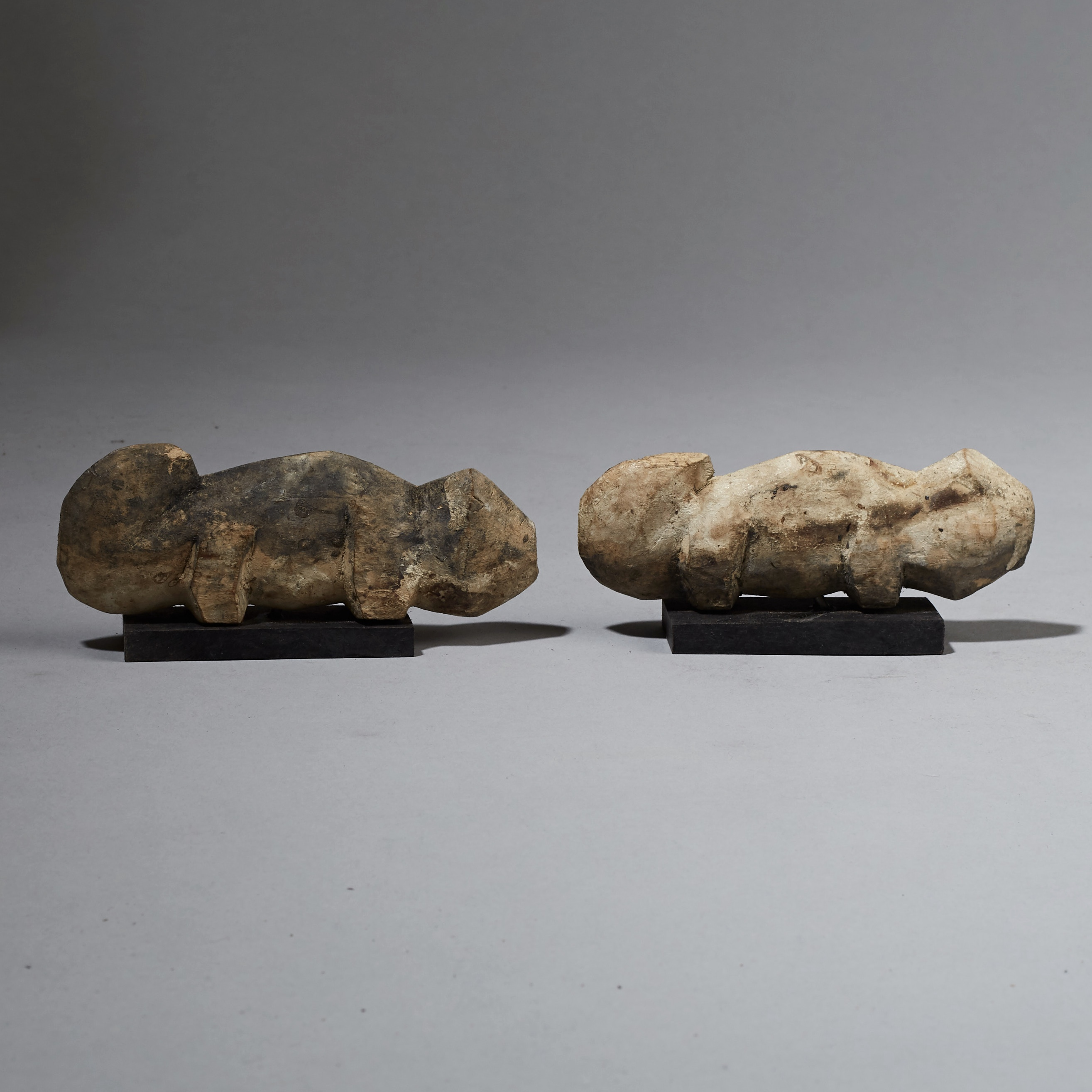 ( SOLD- LY )- A FOLKISH PAIR OF ADAN CHAMELEON NATURE SPIRITS FROM GHANA ( No 2419 )