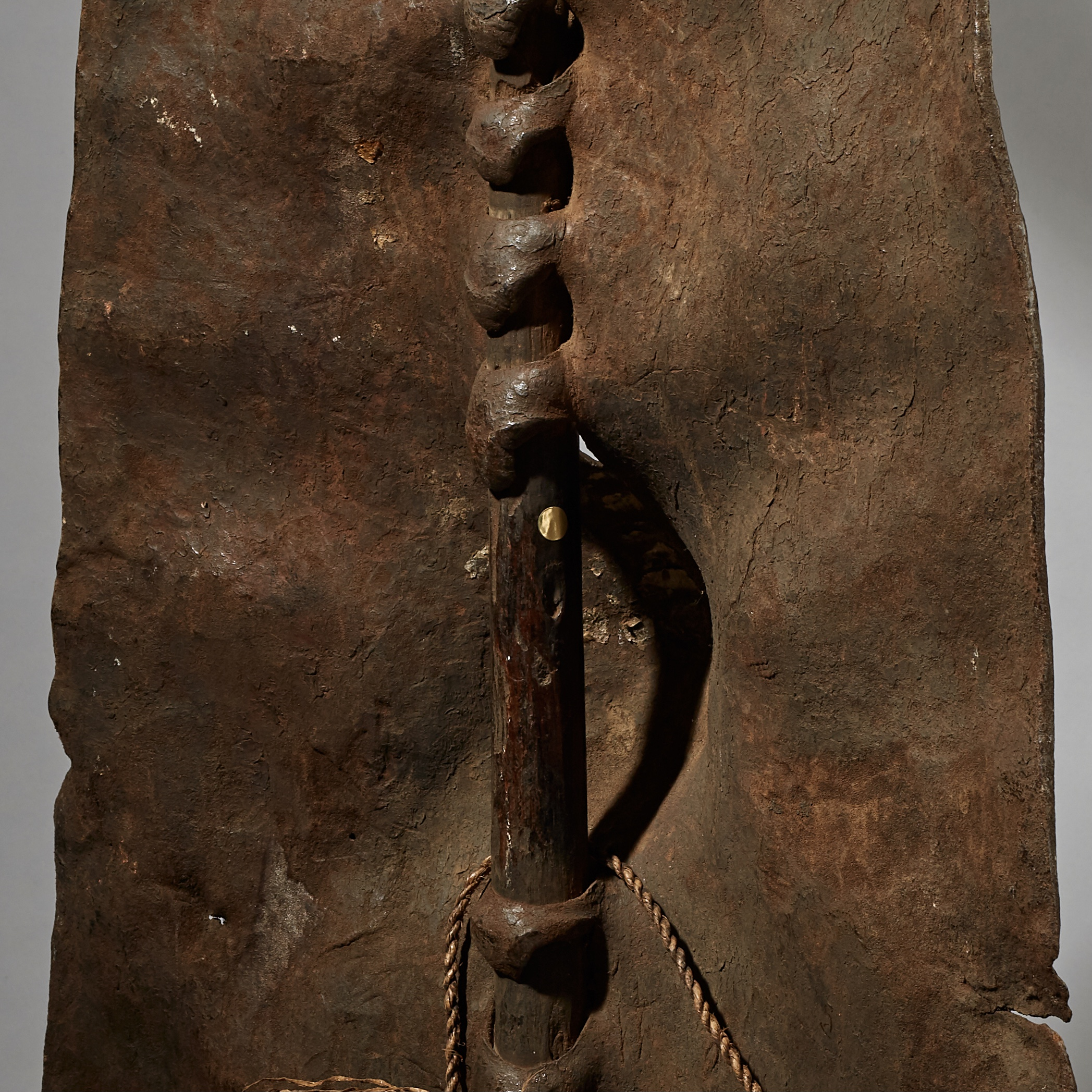A CHARACTERFUL LEATHER DINKA SHIELD FROM SUDAN ( No 3069 )