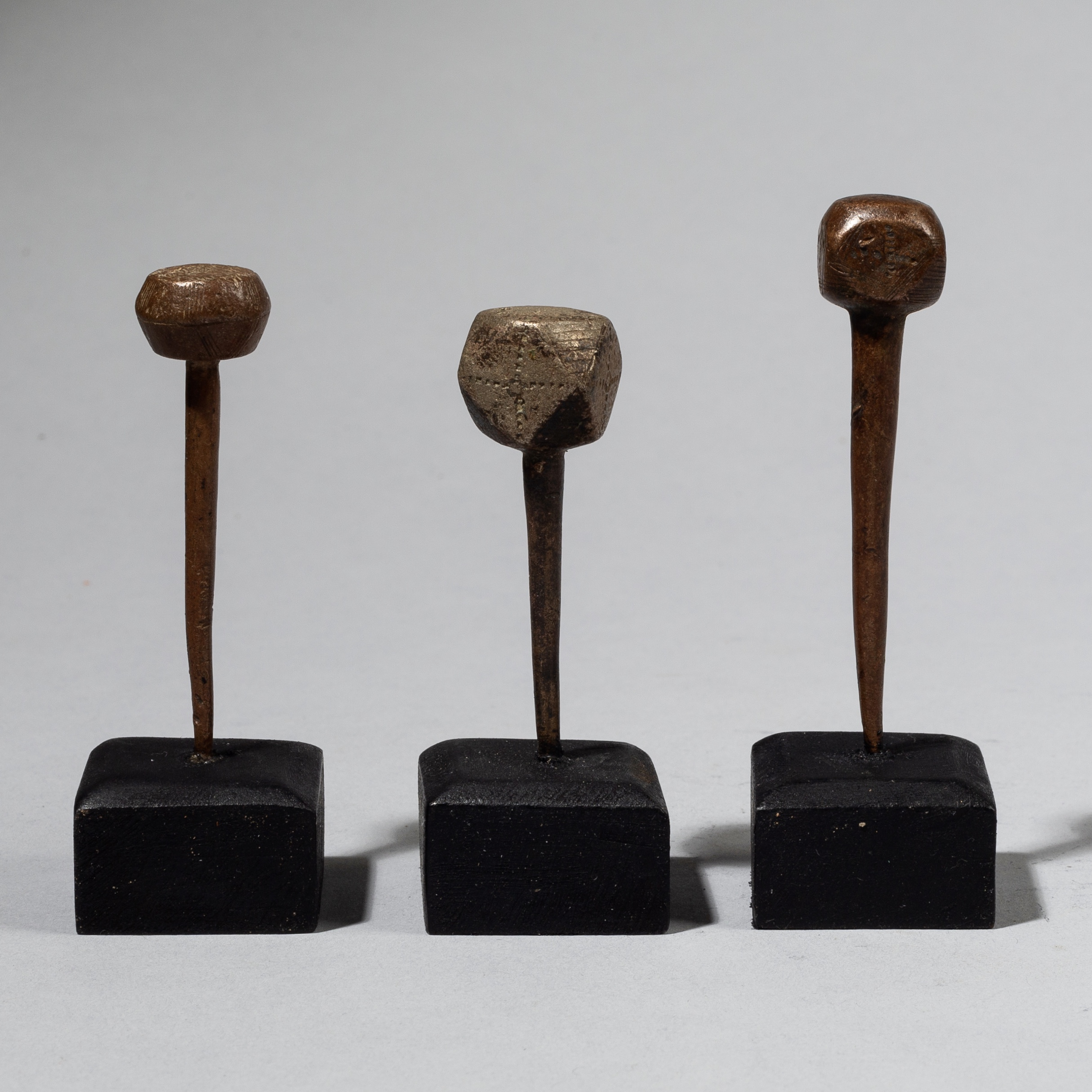 3 FULANI COPPER HAIR PINS FROM MALI W. AFRICA ( No 4438)