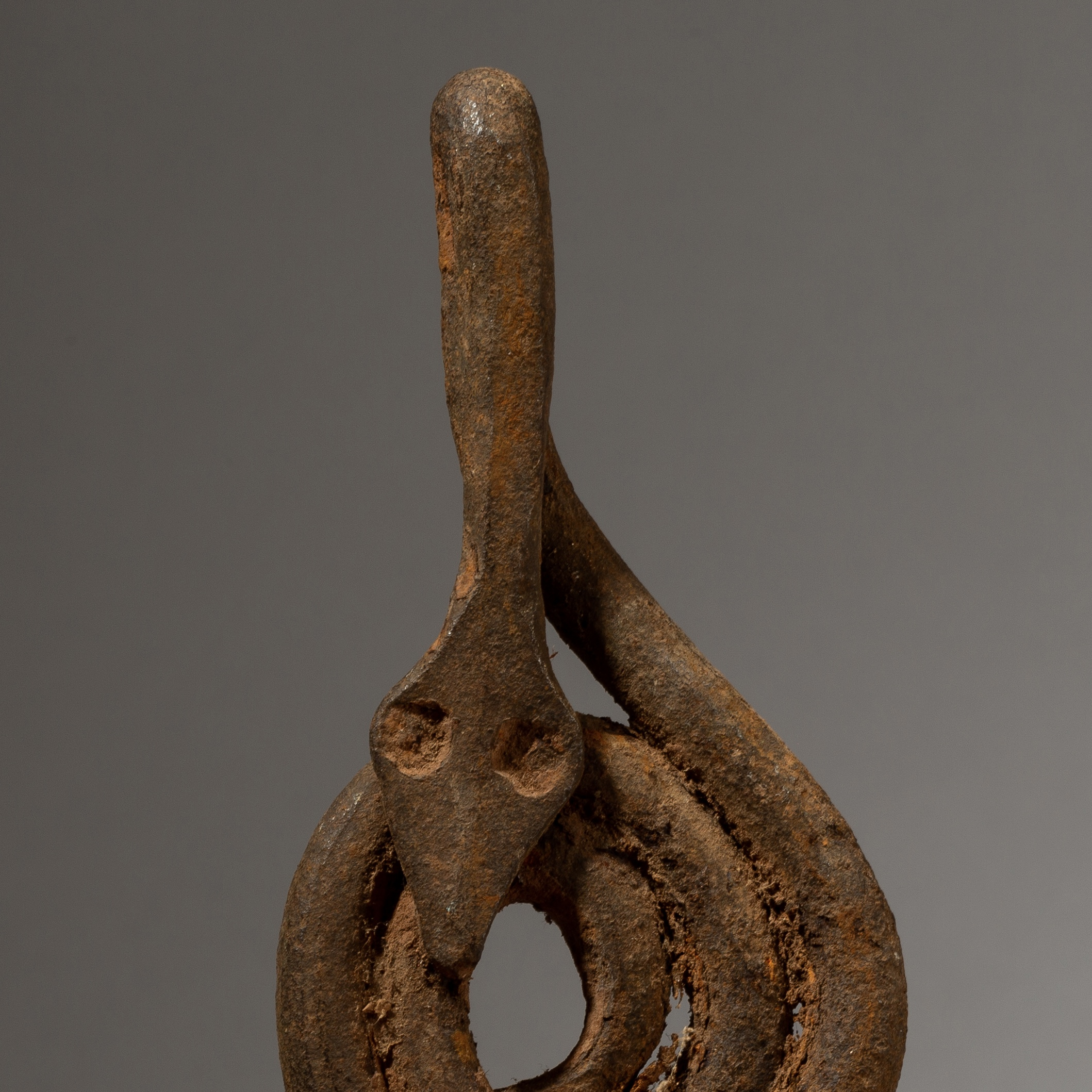 A SCULPTURAL IRON SNAKE CHARM FROM LOBI TRIBE IVORY COAST W AFRICA ( No 4061)