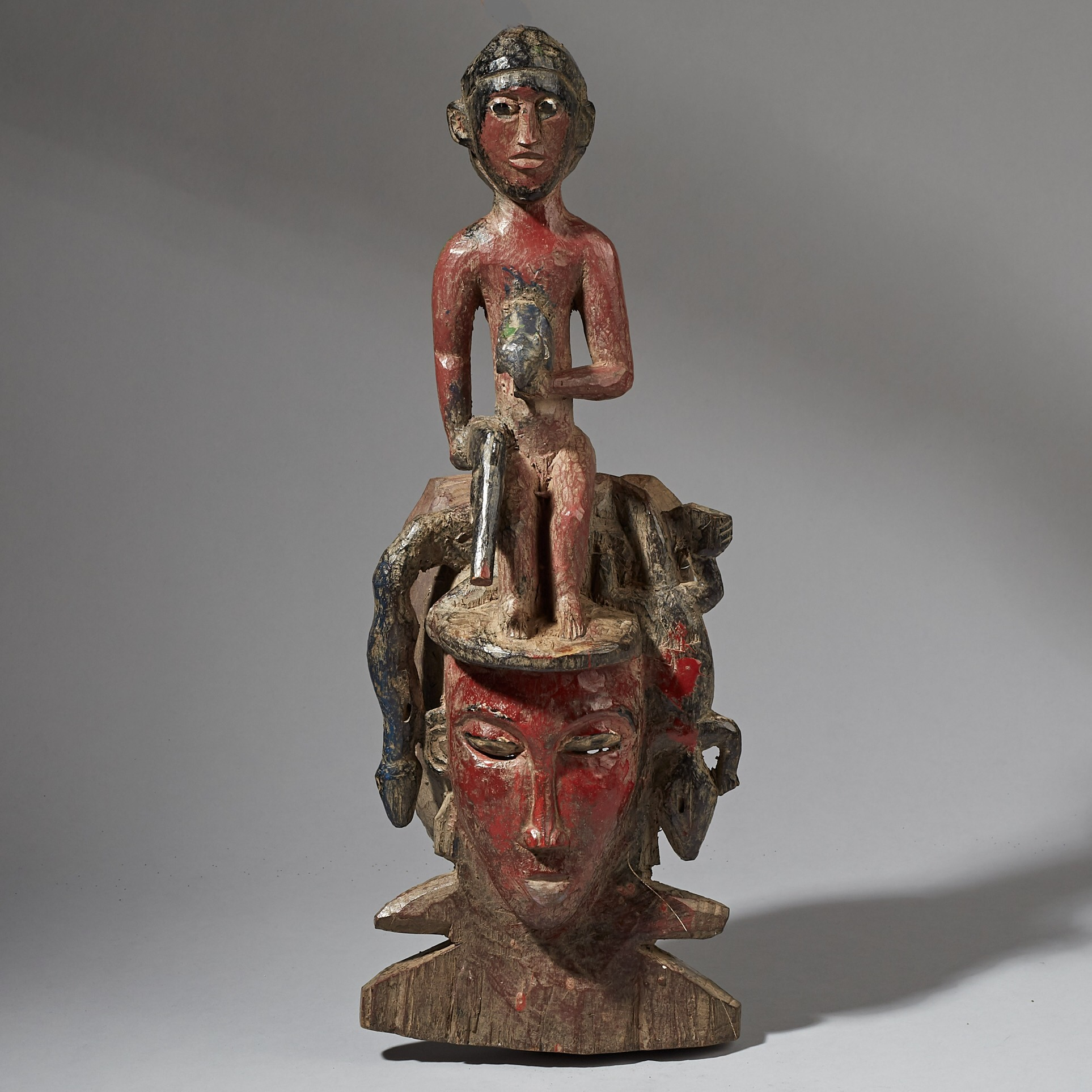 A VERY INTERESTING GURO TRIBE MASK FROM IVORY COAST ( No 2960 )