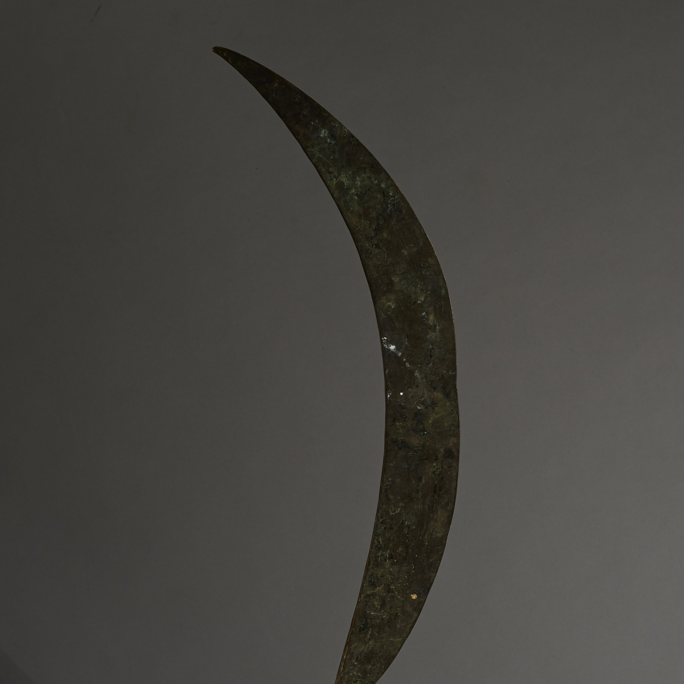 A OLD SYTHE SHAPED, BRONZE PRESTIGE SWORD, NUPE TRIBE NIGERIA( No 2639 )
