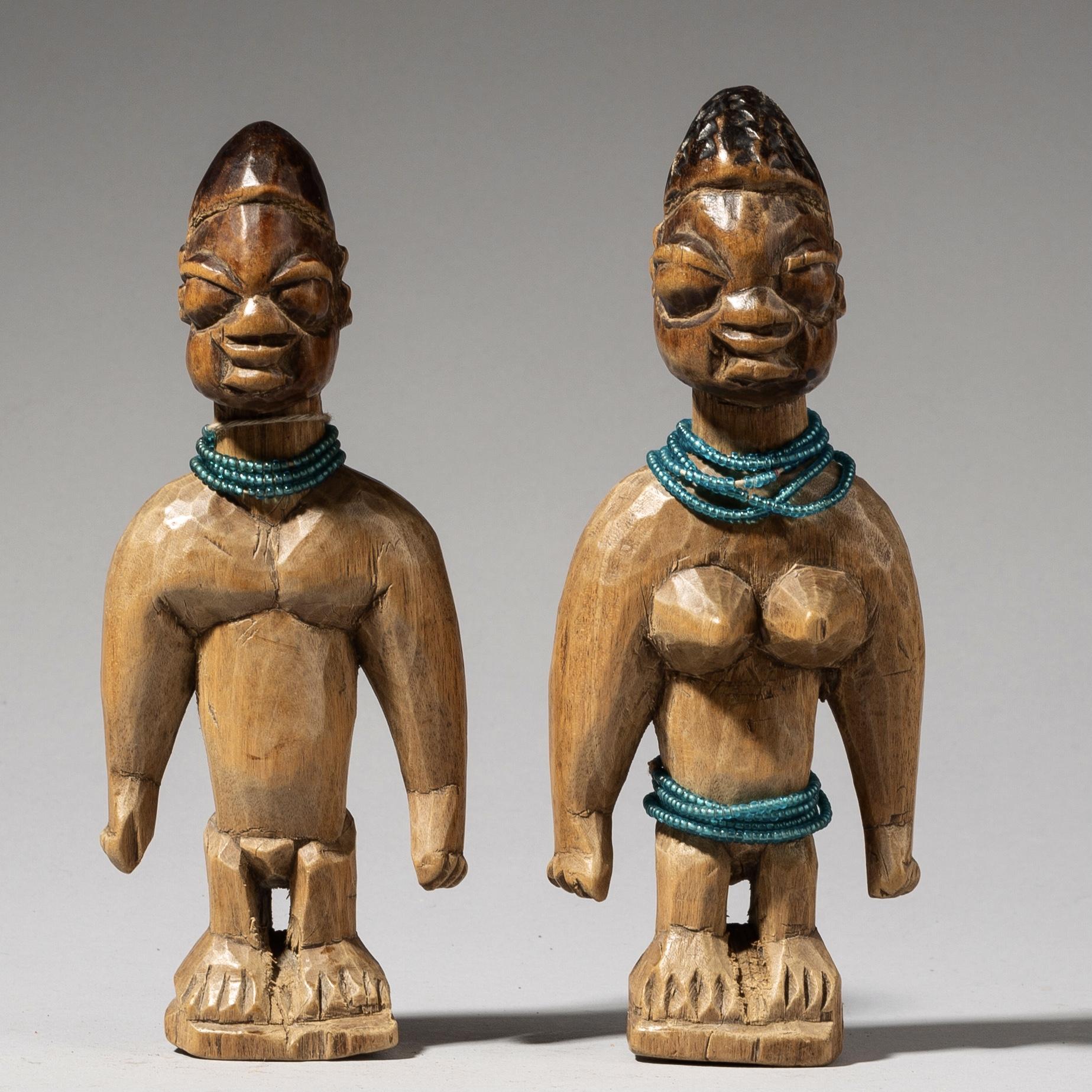 A SCULPTURAL MALE +FEMALE PAIR OF VENAVI DOLLS, EWE TRIBE GHANA ( No 3684)