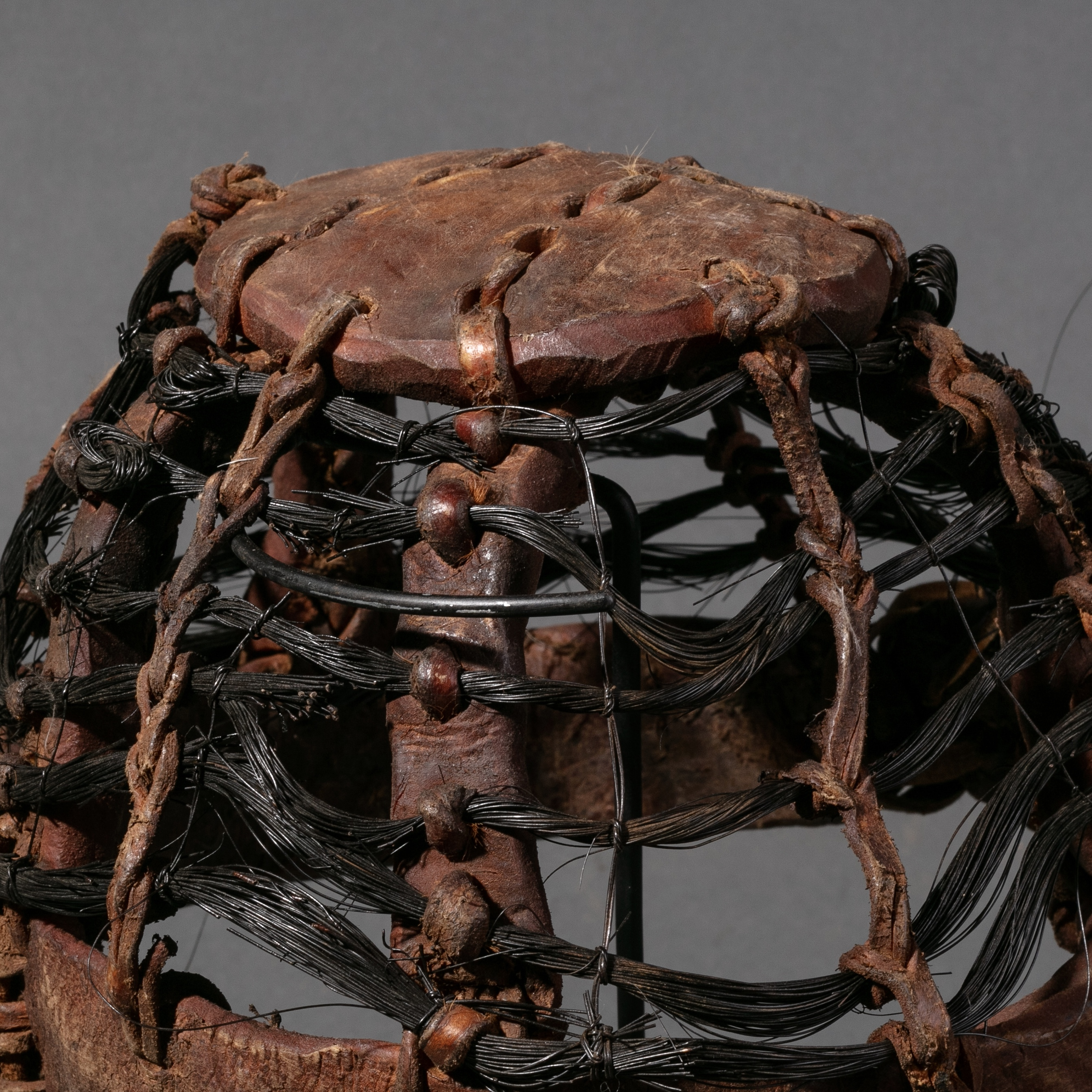 A RUSTIC LEATHER HAT FROM KENYA ( No 873 )