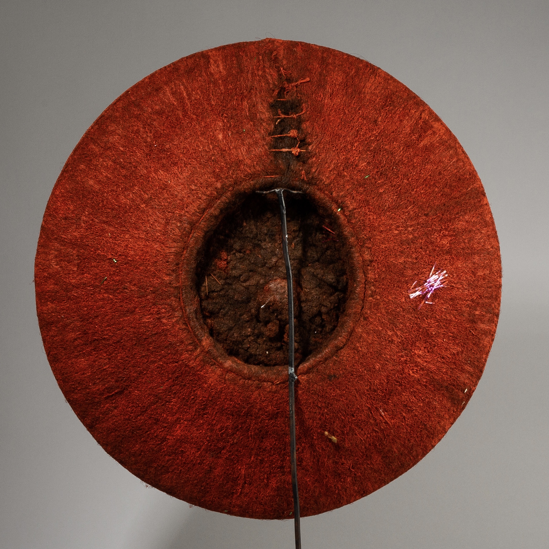 A BRIGHT RED ISICOLO HAT, ZULU TRIBE SOUTH AFRICA ( No 3805 )
