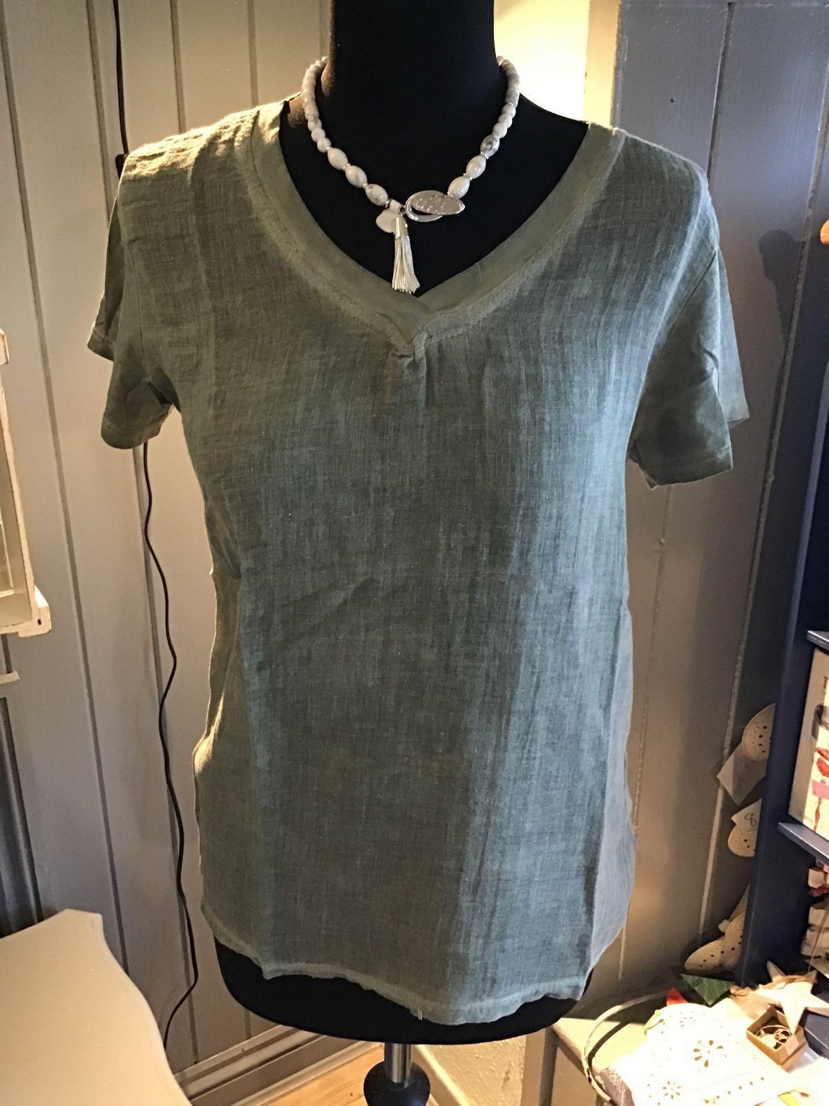 MSH army green linen T-shirt
